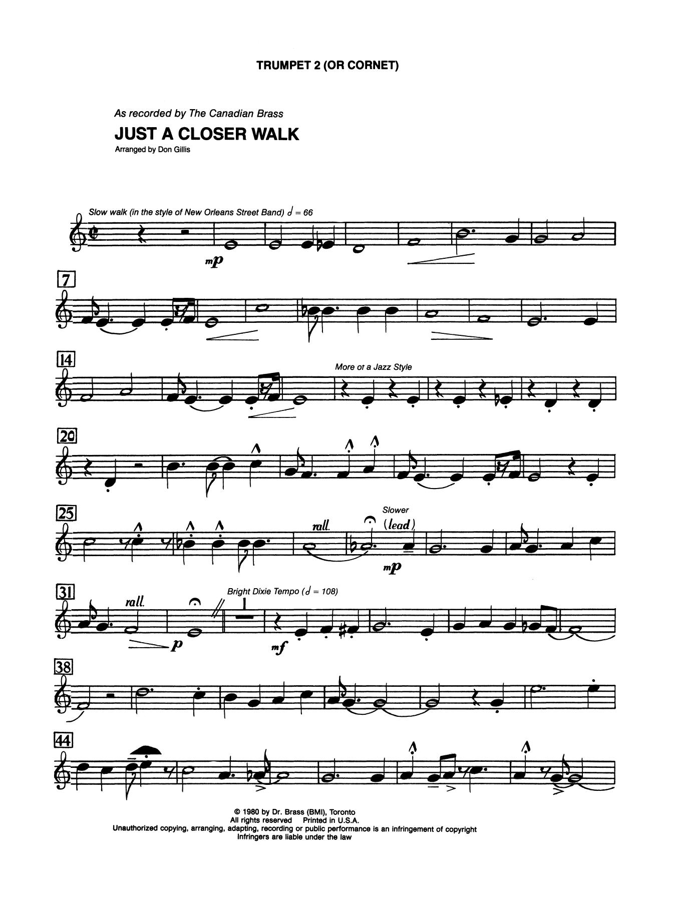 Just A Closer Walk With Thee - Bb Trumpet 2 (Brass Quintet) Sheet Music