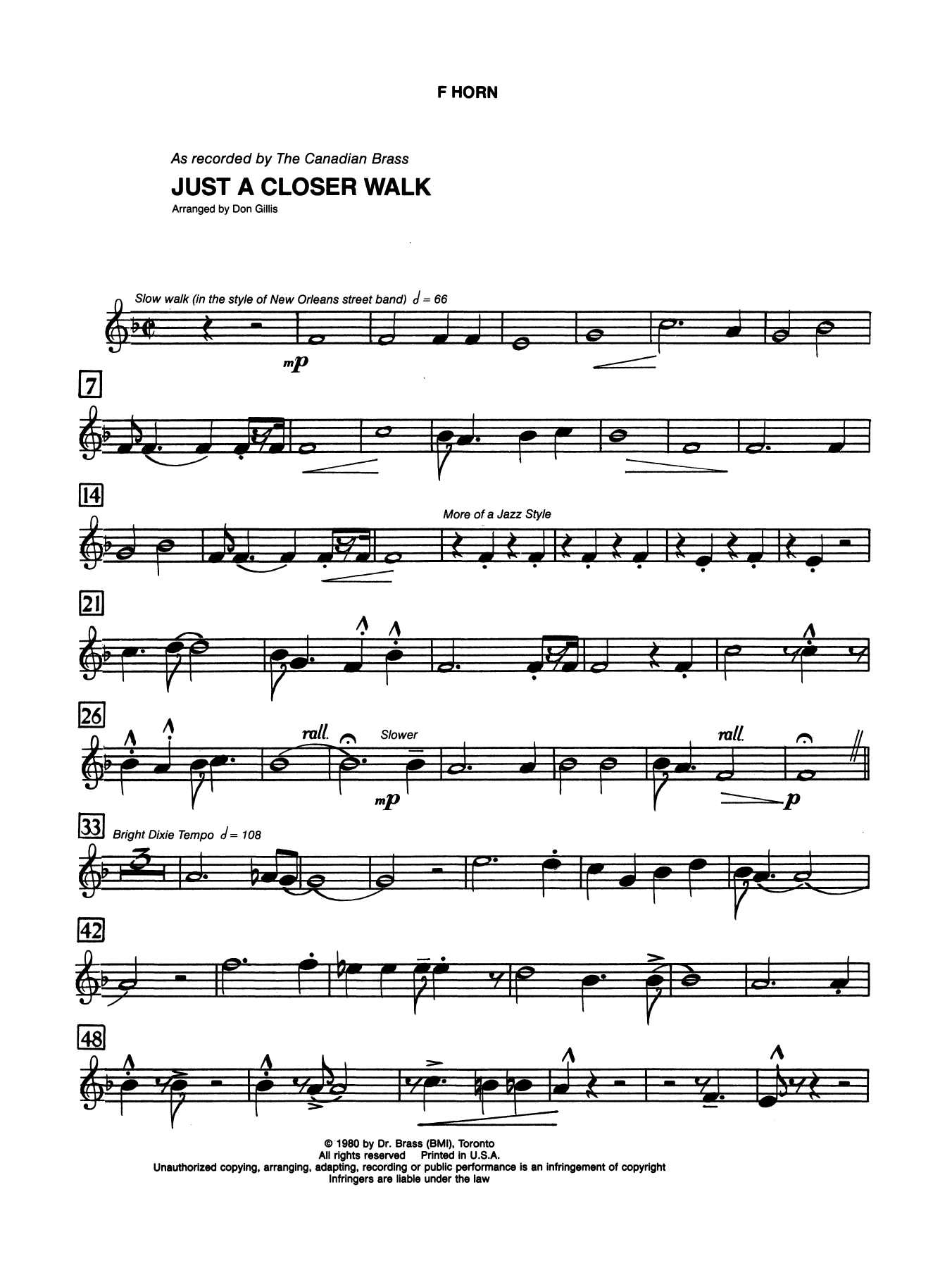 Just A Closer Walk With Thee - Horn in F Sheet Music
