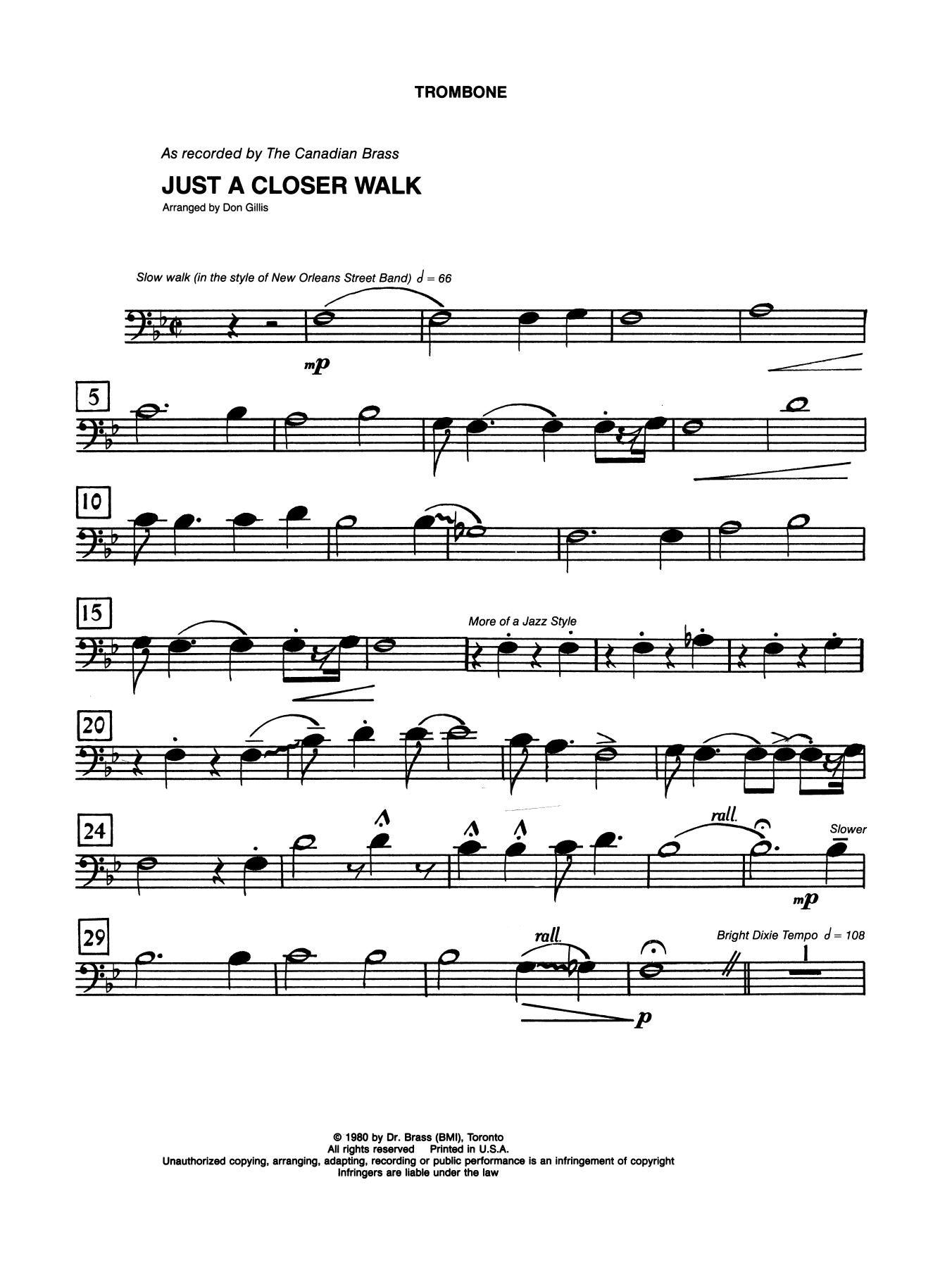 Just A Closer Walk With Thee - Trombone (B.C.) Sheet Music