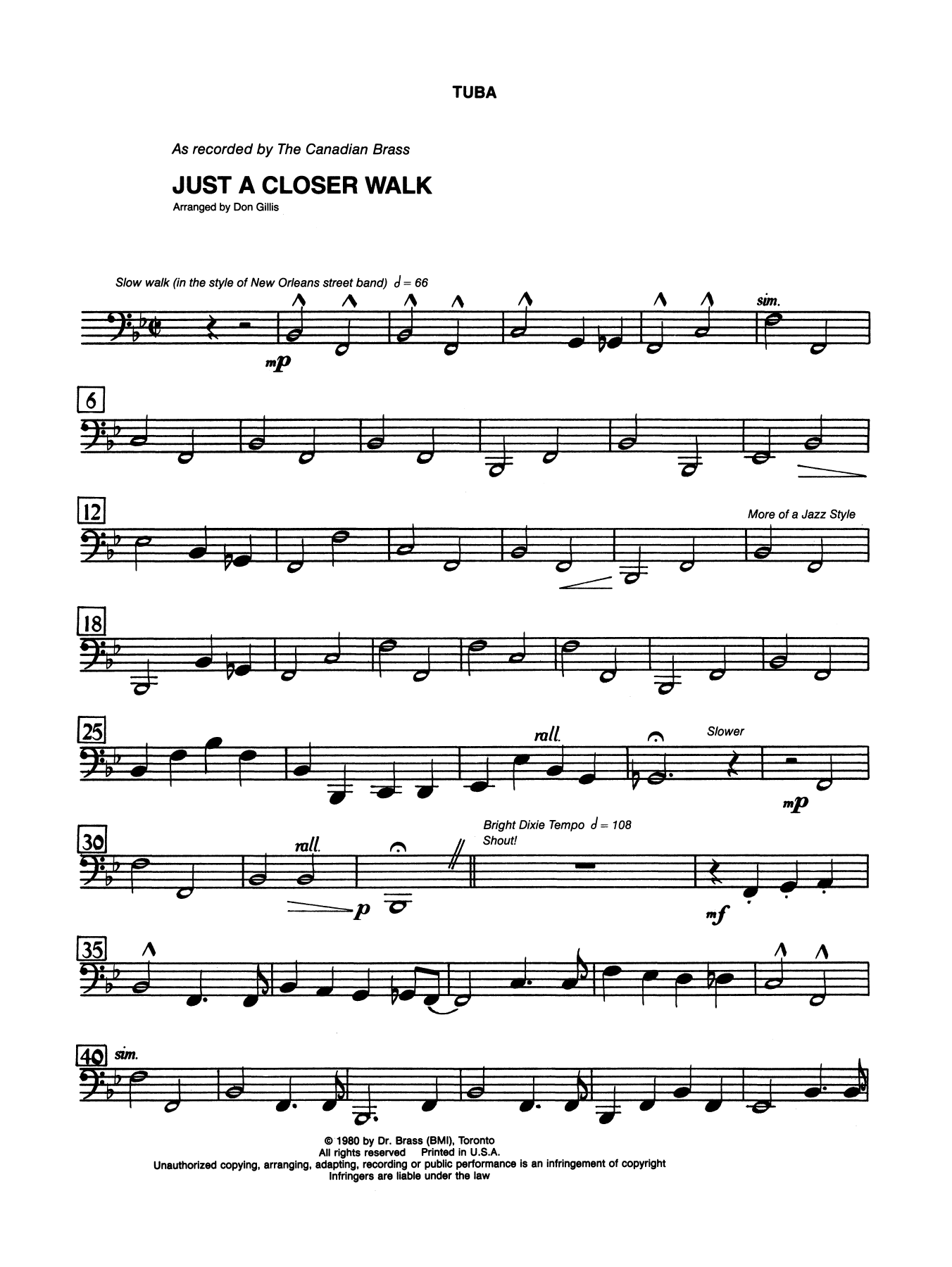 Just A Closer Walk With Thee - Tuba Sheet Music