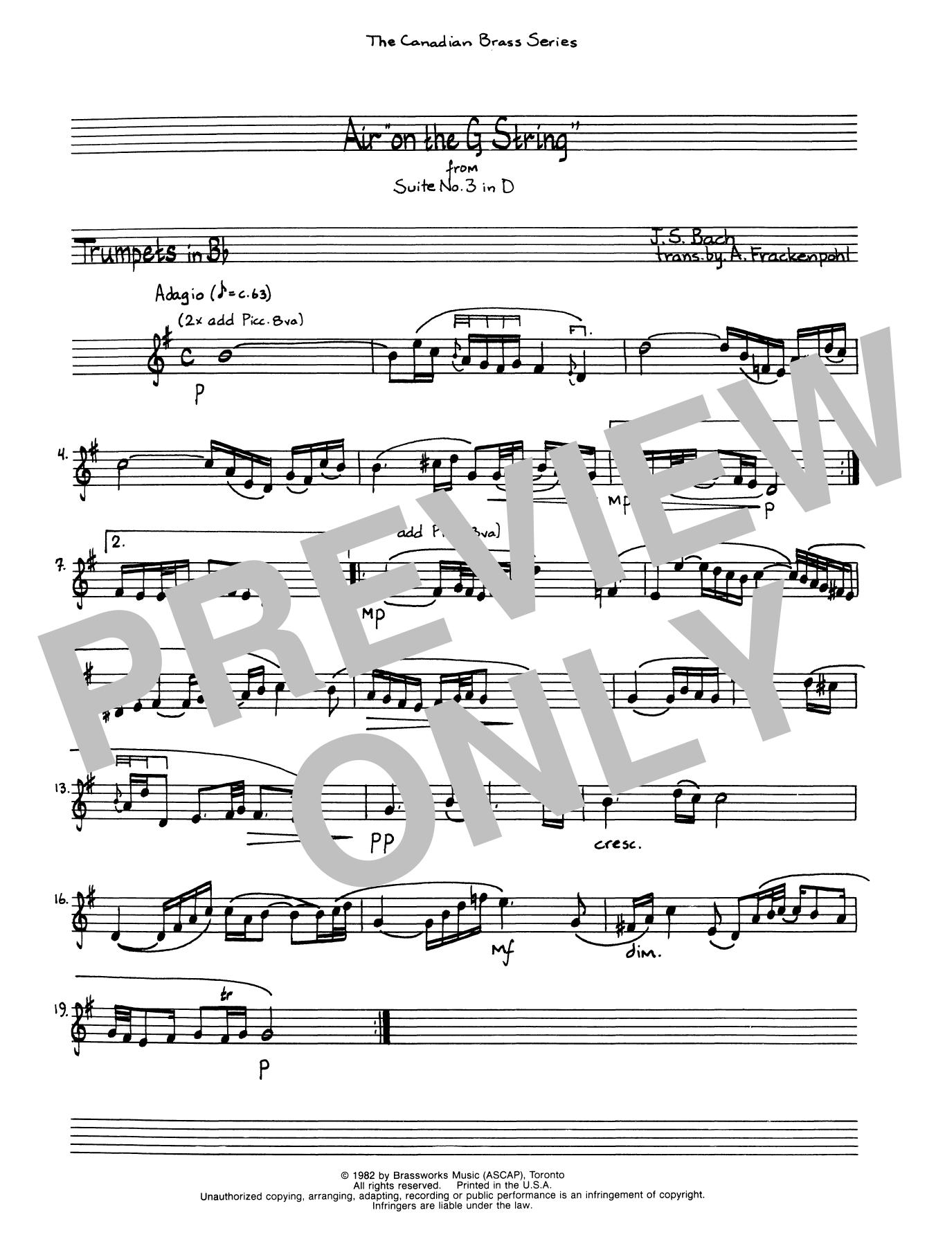 Air On The G String - Bb Trumpet 1 (Brass Quintet) Sheet Music