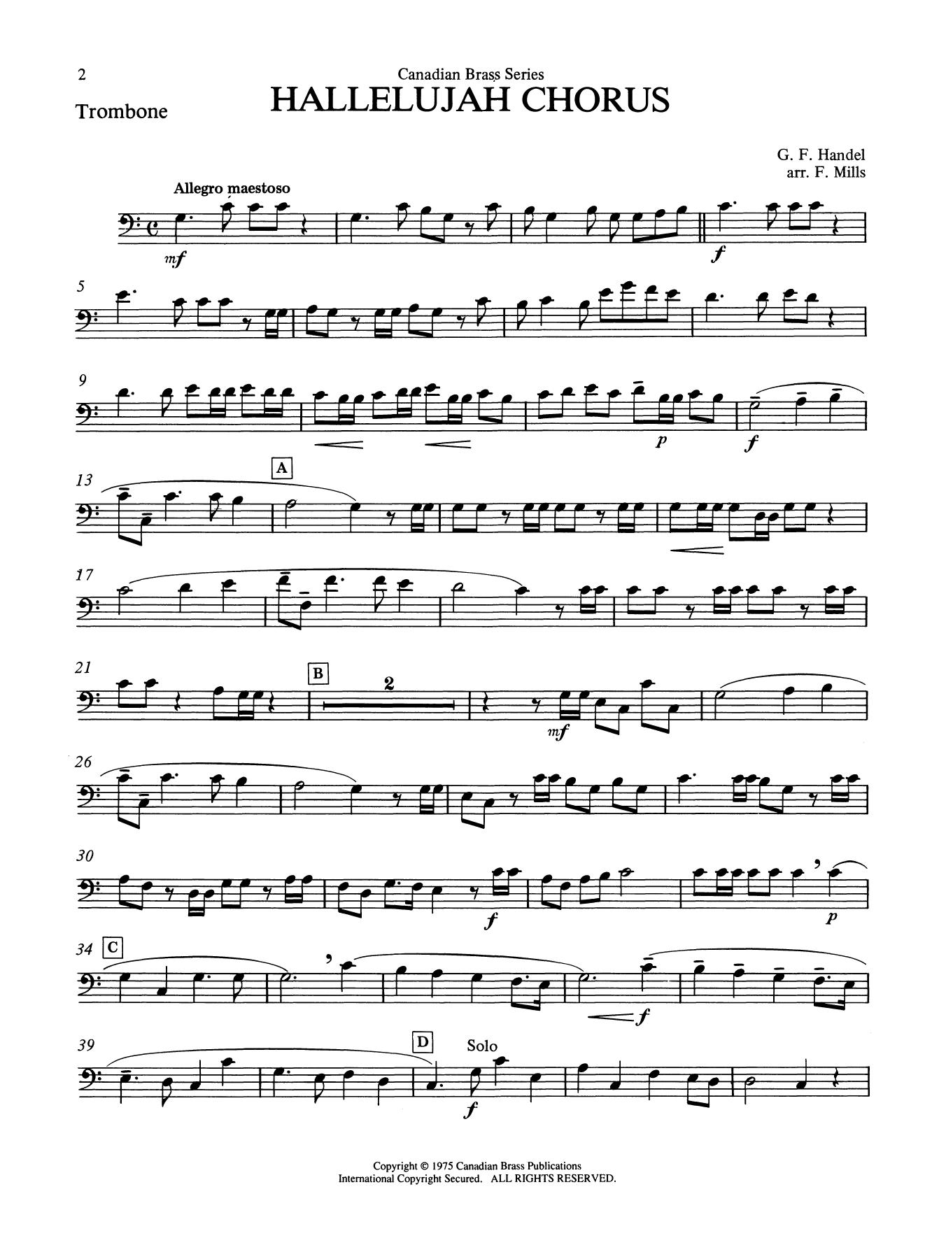 Hallelujah Chorus - Trombone (B.C.) Sheet Music