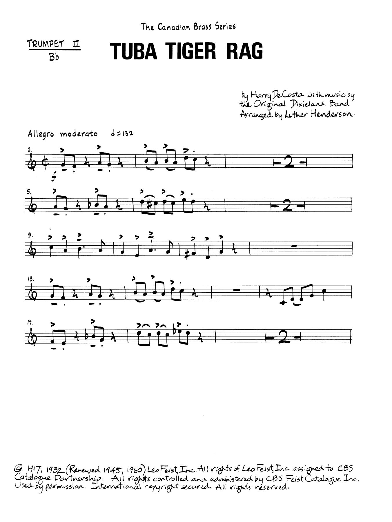 Tuba Tiger Rag - Bb Trumpet 2 (Brass Quintet) Sheet Music