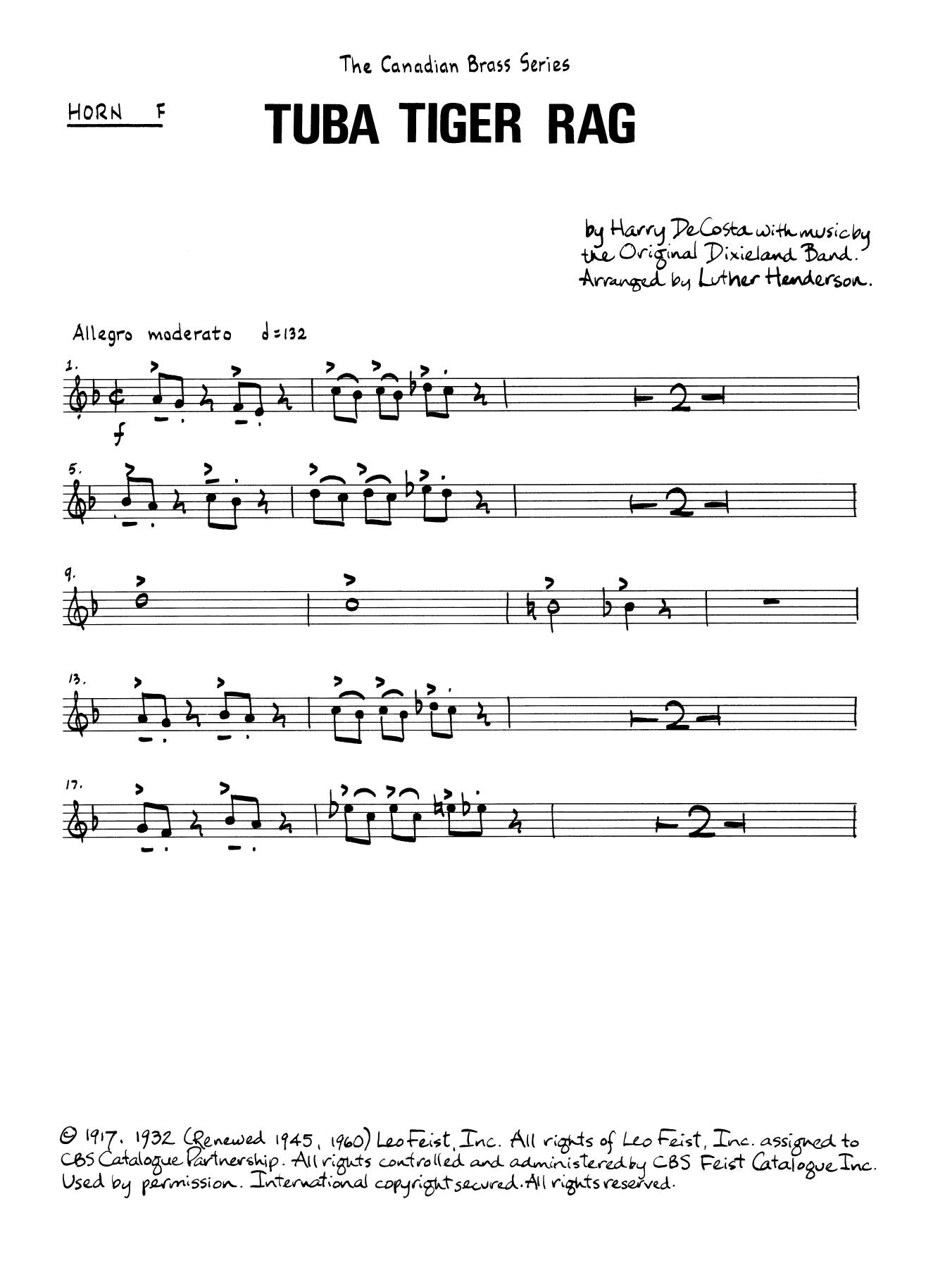 Tuba Tiger Rag - Horn in F Sheet Music