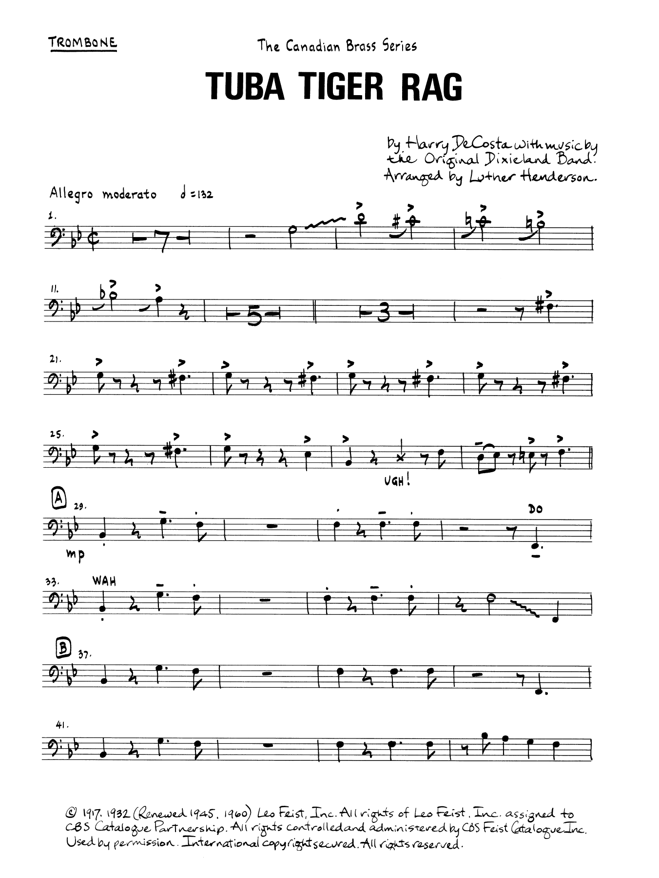 Tuba Tiger Rag - Trombone (B.C.) Digitale Noten