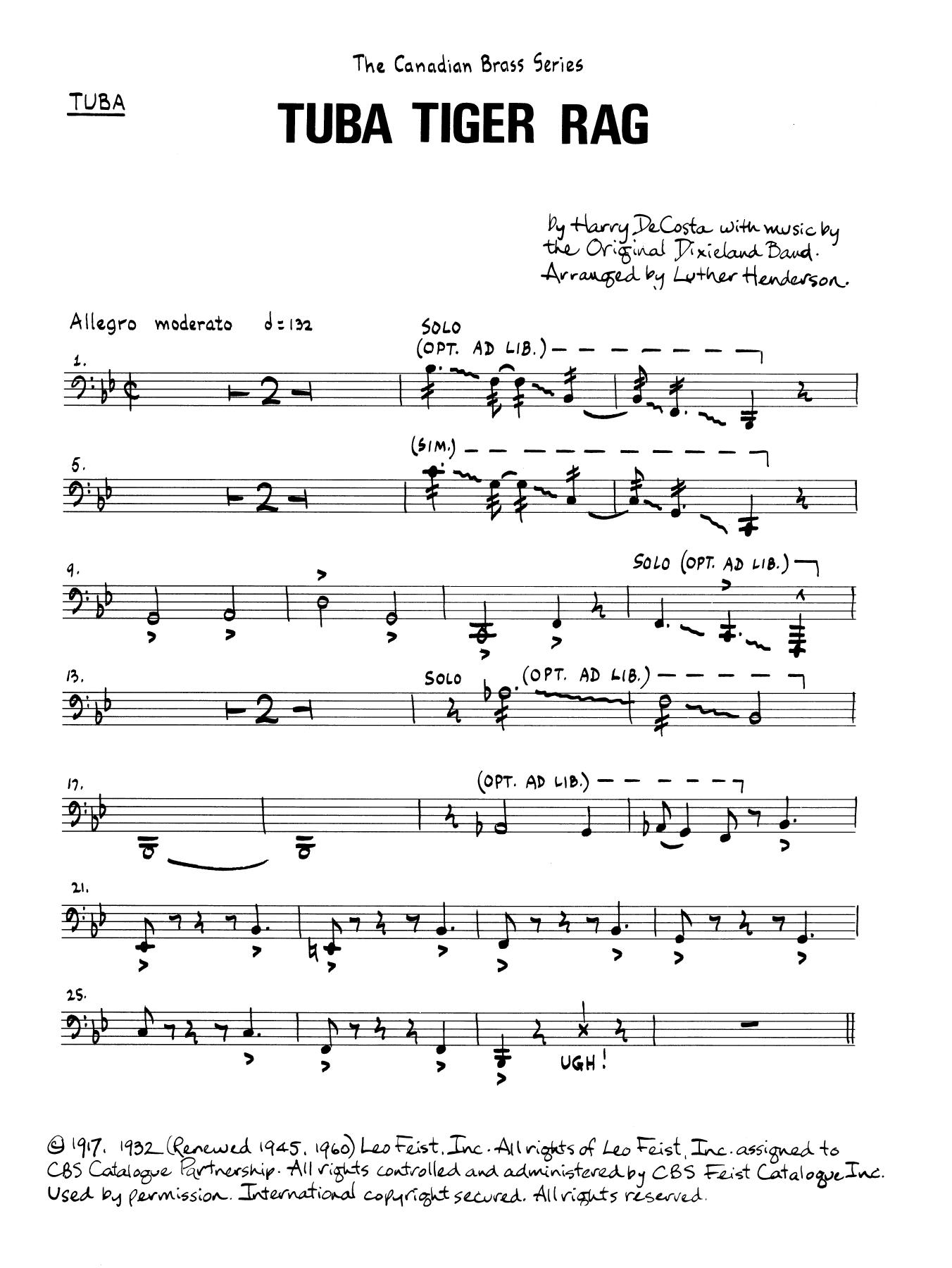 Tuba Tiger Rag - Tuba Sheet Music