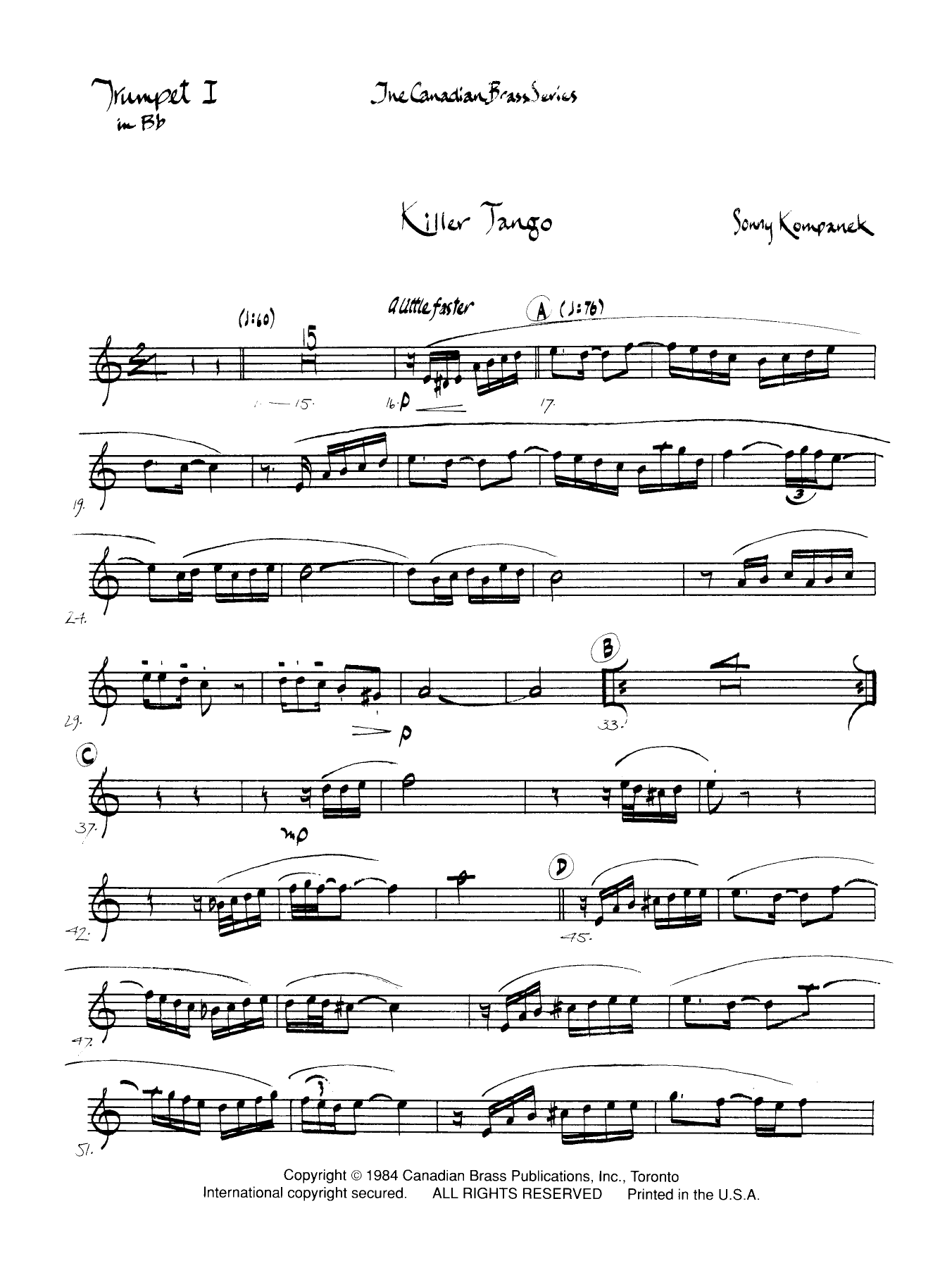 Killer Tango - Bb Trumpet 1 (Brass Quintet) Sheet Music