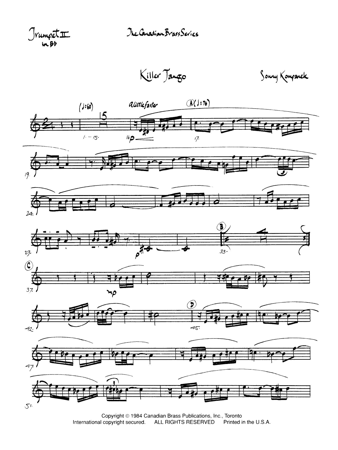 Killer Tango - Bb Trumpet 2 (Brass Quintet) Partition Digitale