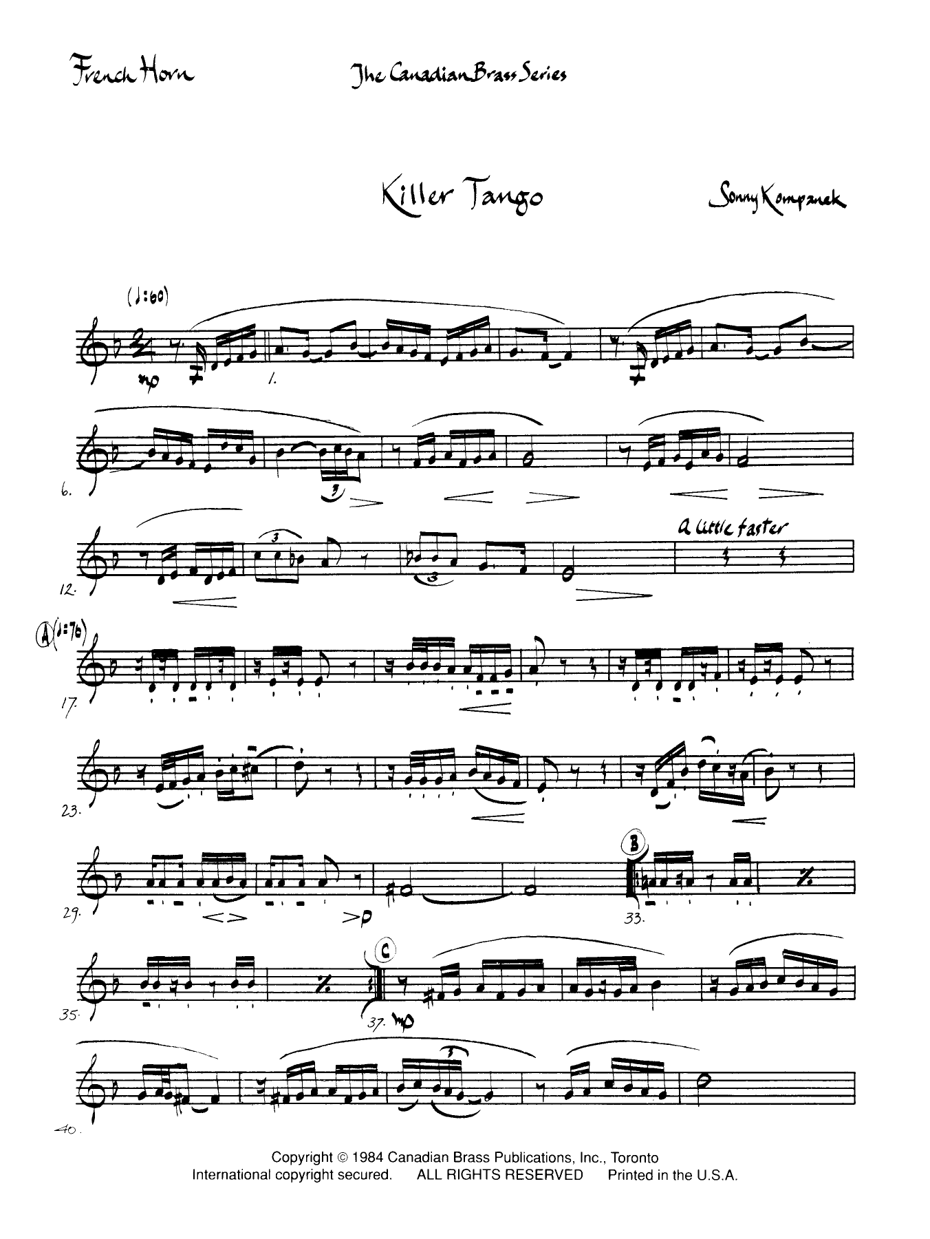 Killer Tango - Horn in F Sheet Music