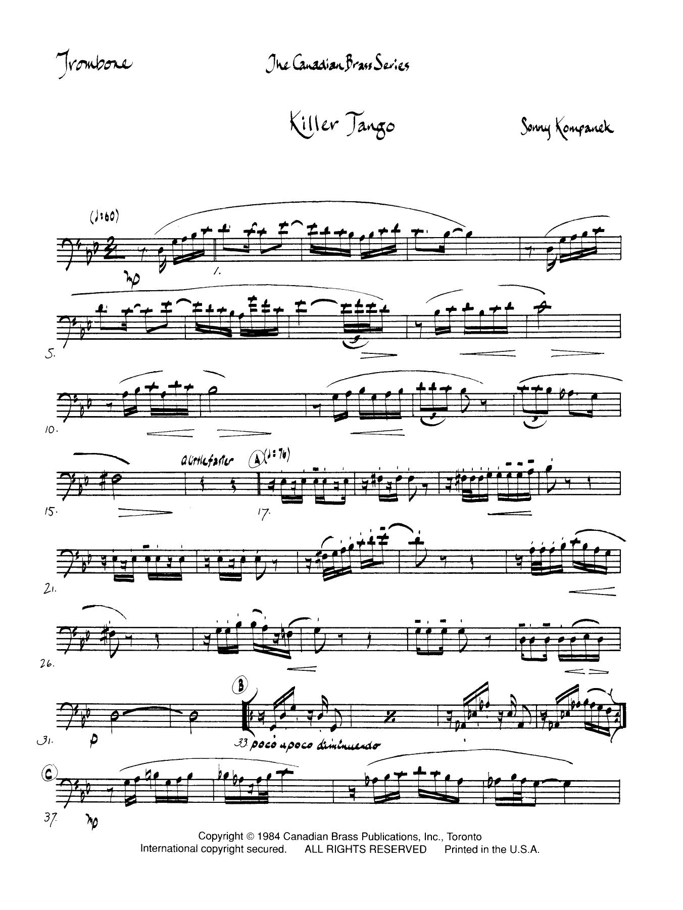 Killer Tango - Trombone (B.C.) Sheet Music