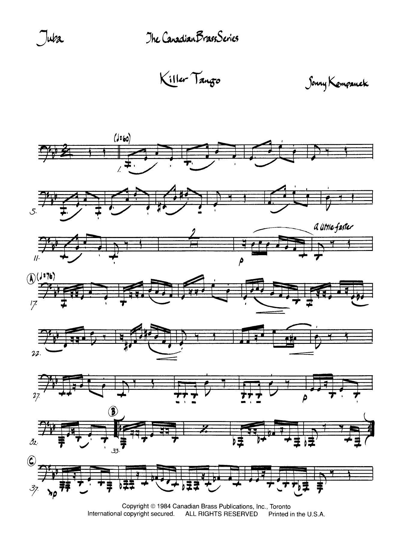 Killer Tango - Tuba Sheet Music