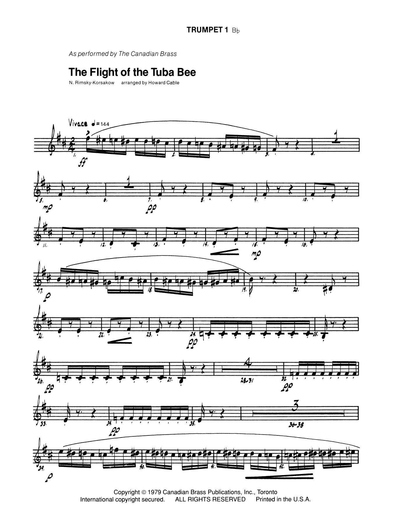 The Flight of the Tuba Bee - Bb Trumpet 1 (Brass Quintet) Sheet Music