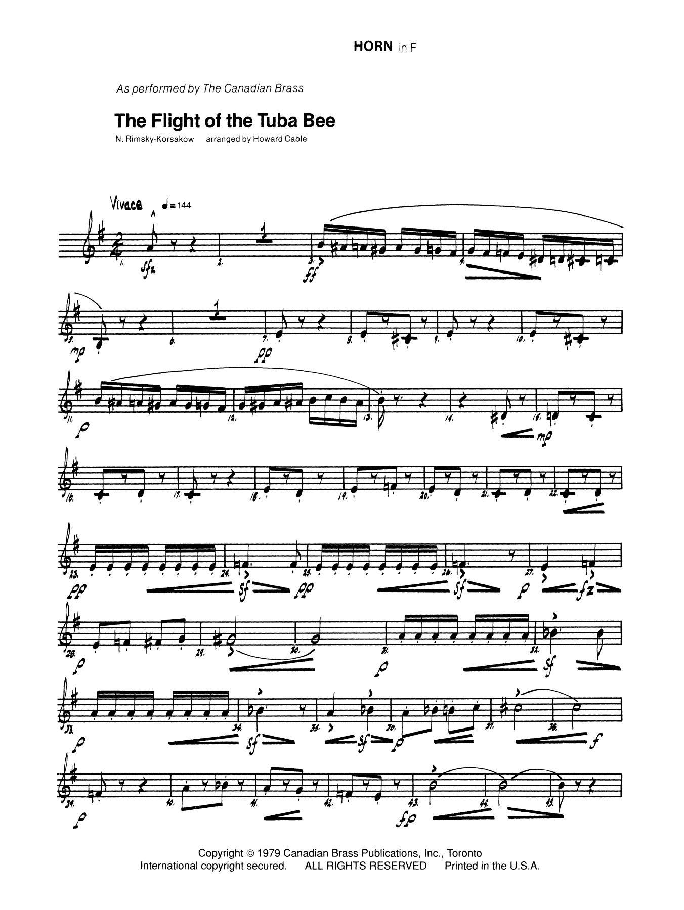 The Flight of the Tuba Bee - Horn in F Sheet Music