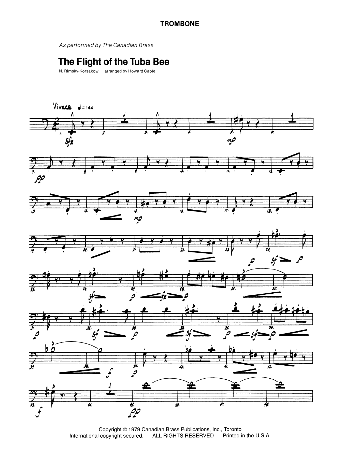 The Flight of the Tuba Bee - Trombone (B.C.) Partition Digitale