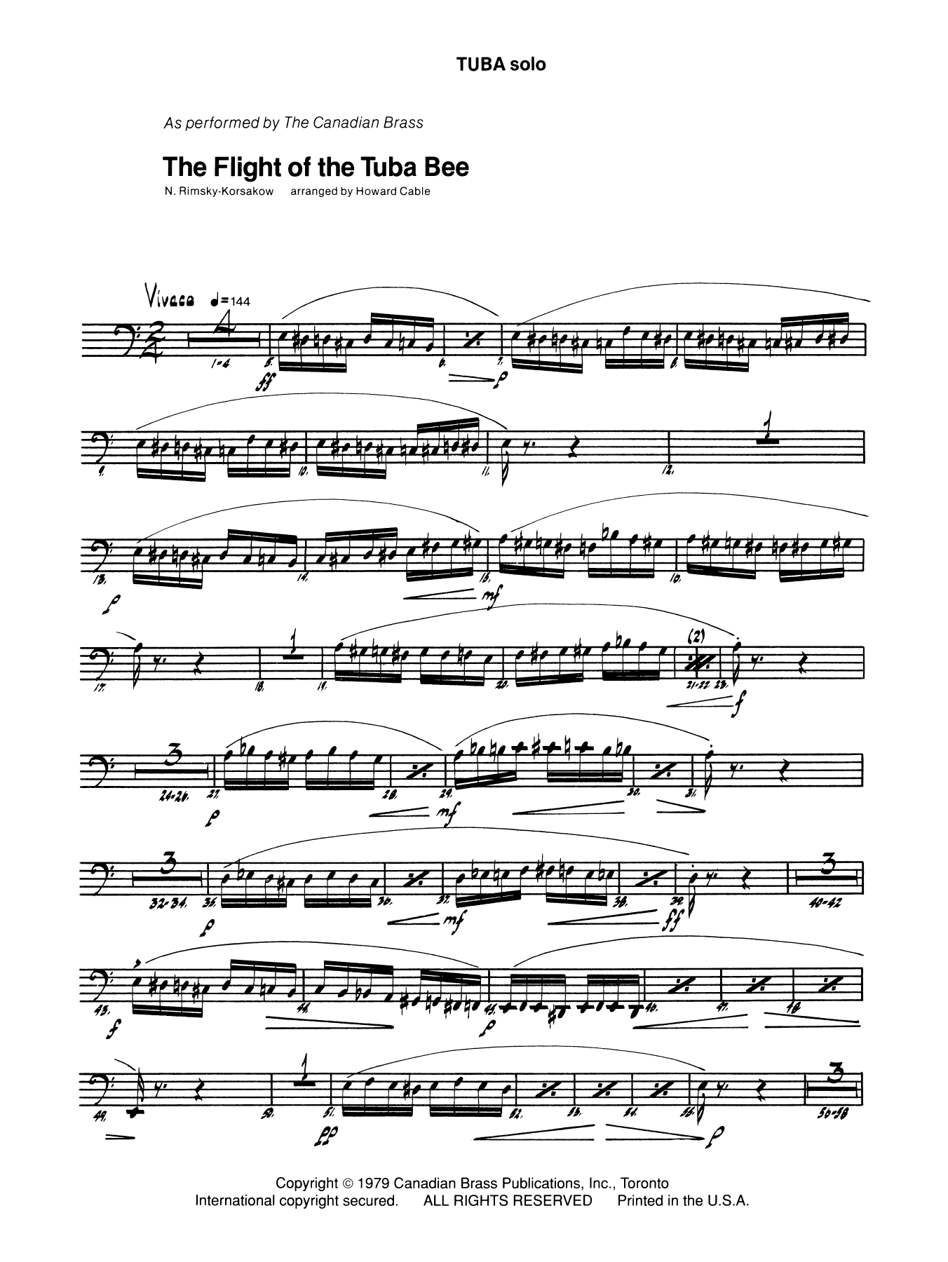 The Flight of the Tuba Bee - Tuba Sheet Music