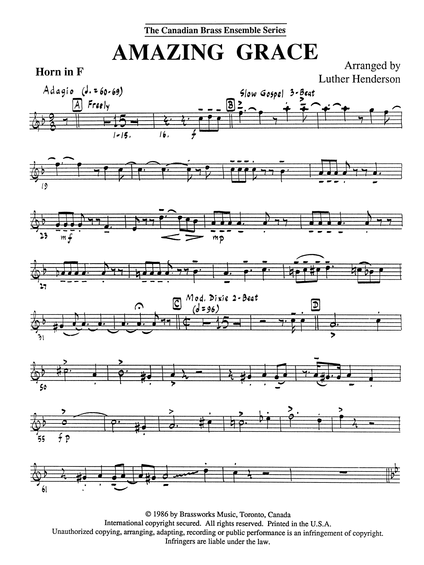 Amazing Grace - Horn in F Sheet Music