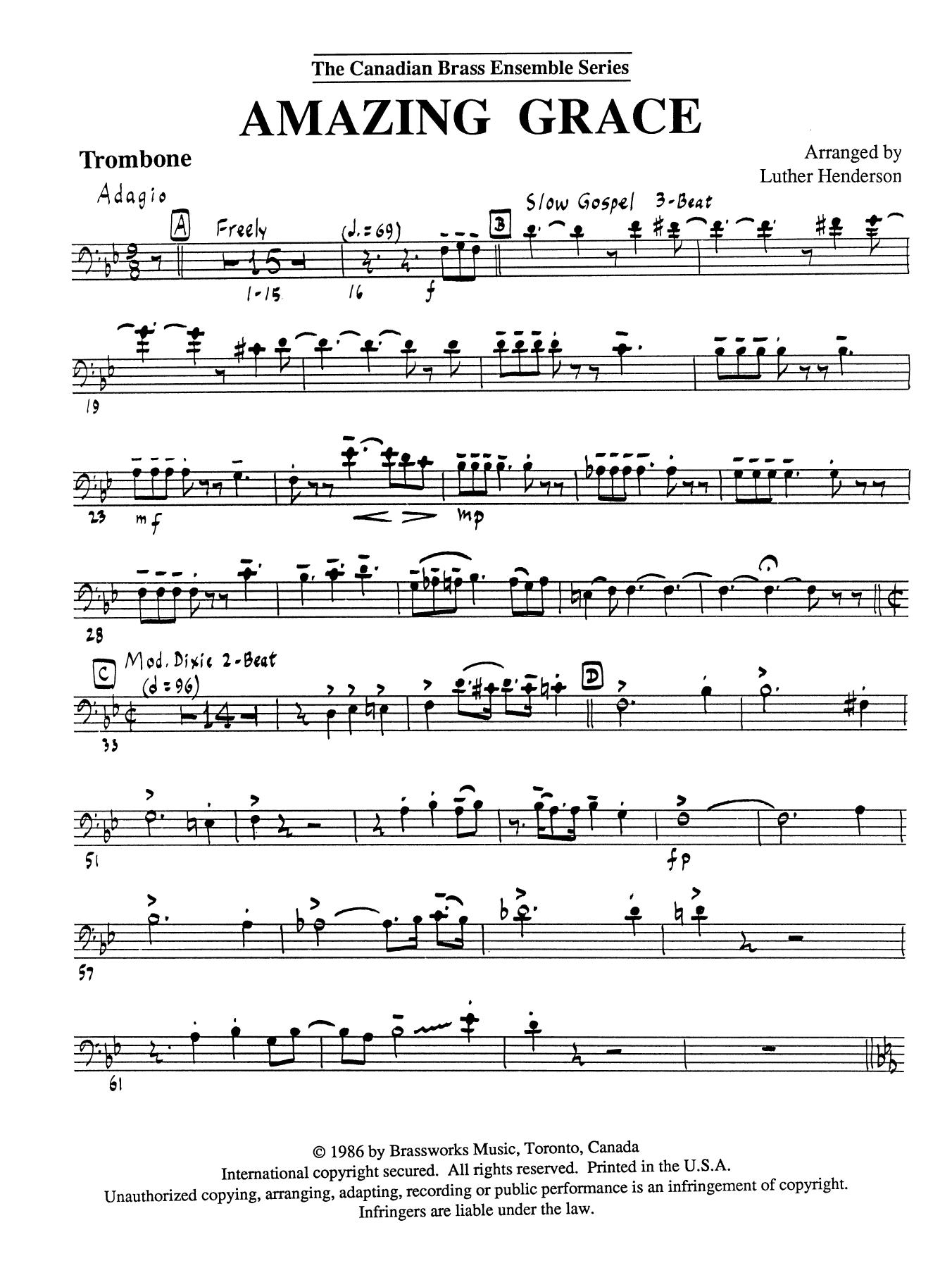 Amazing Grace - Trombone (B.C.) Sheet Music
