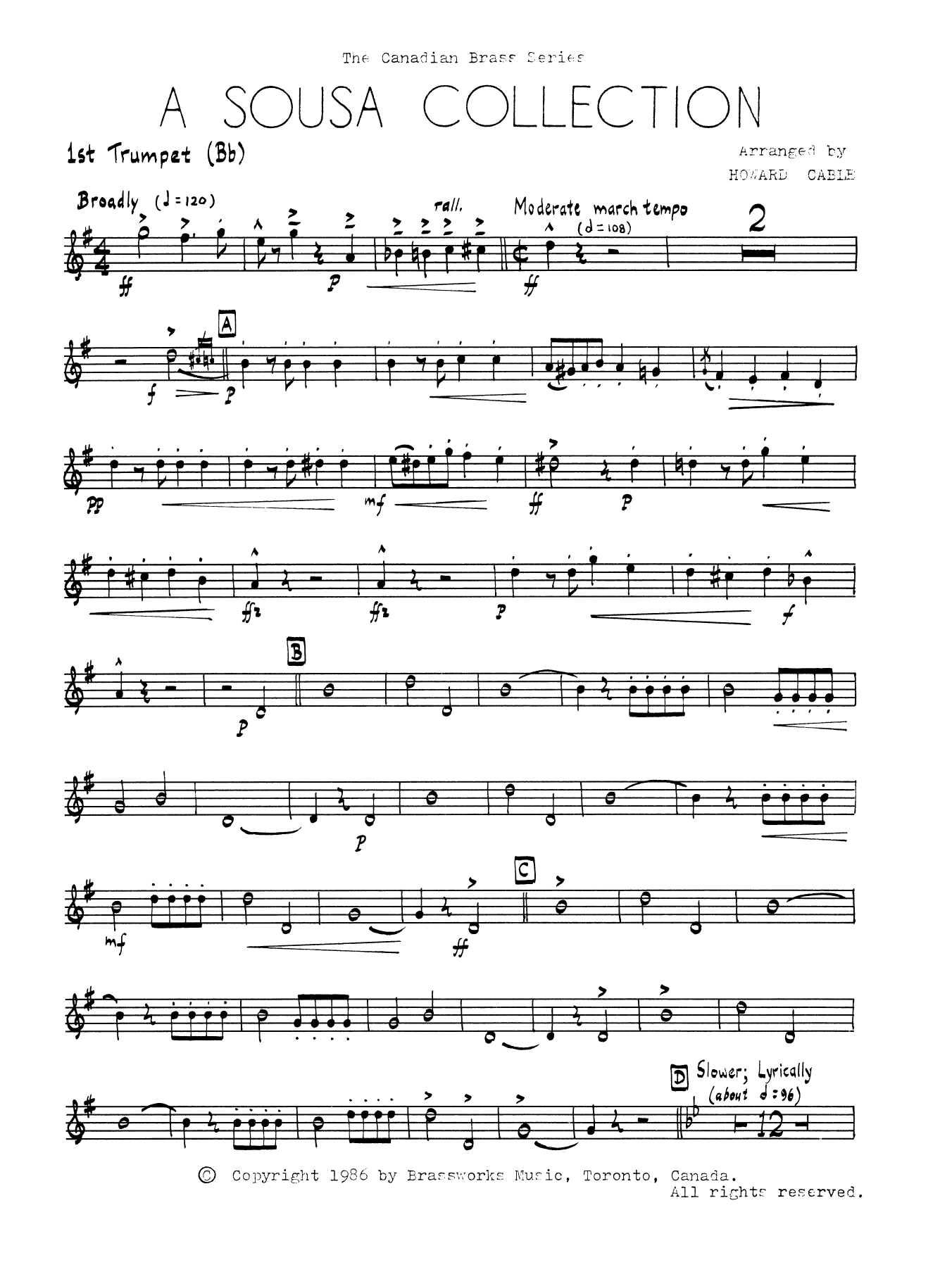 A Sousa Collection - Bb Trumpet 1 (Brass Quintet) Sheet Music
