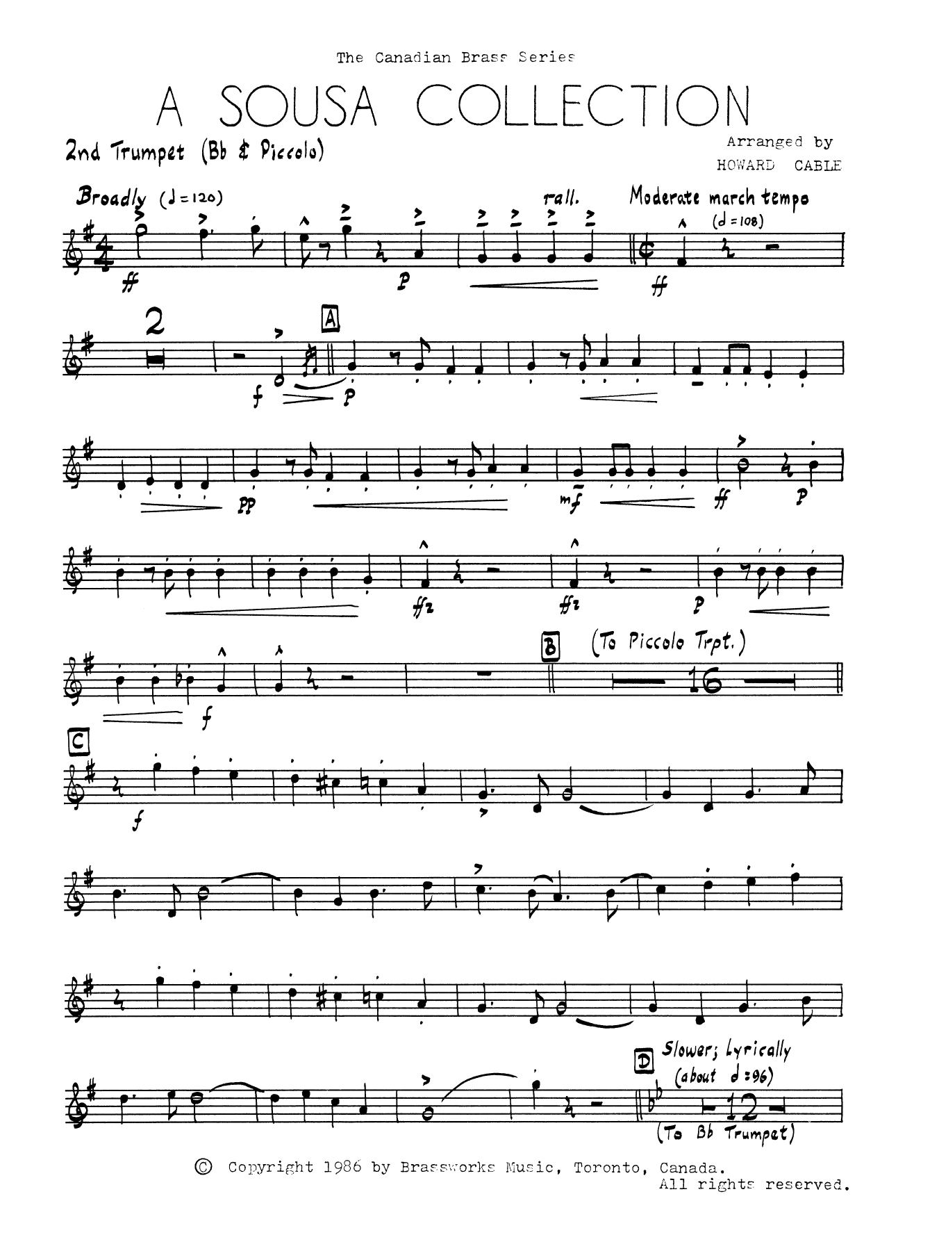 A Sousa Collection - Bb Trumpet 2 (Brass Quintet) Sheet Music