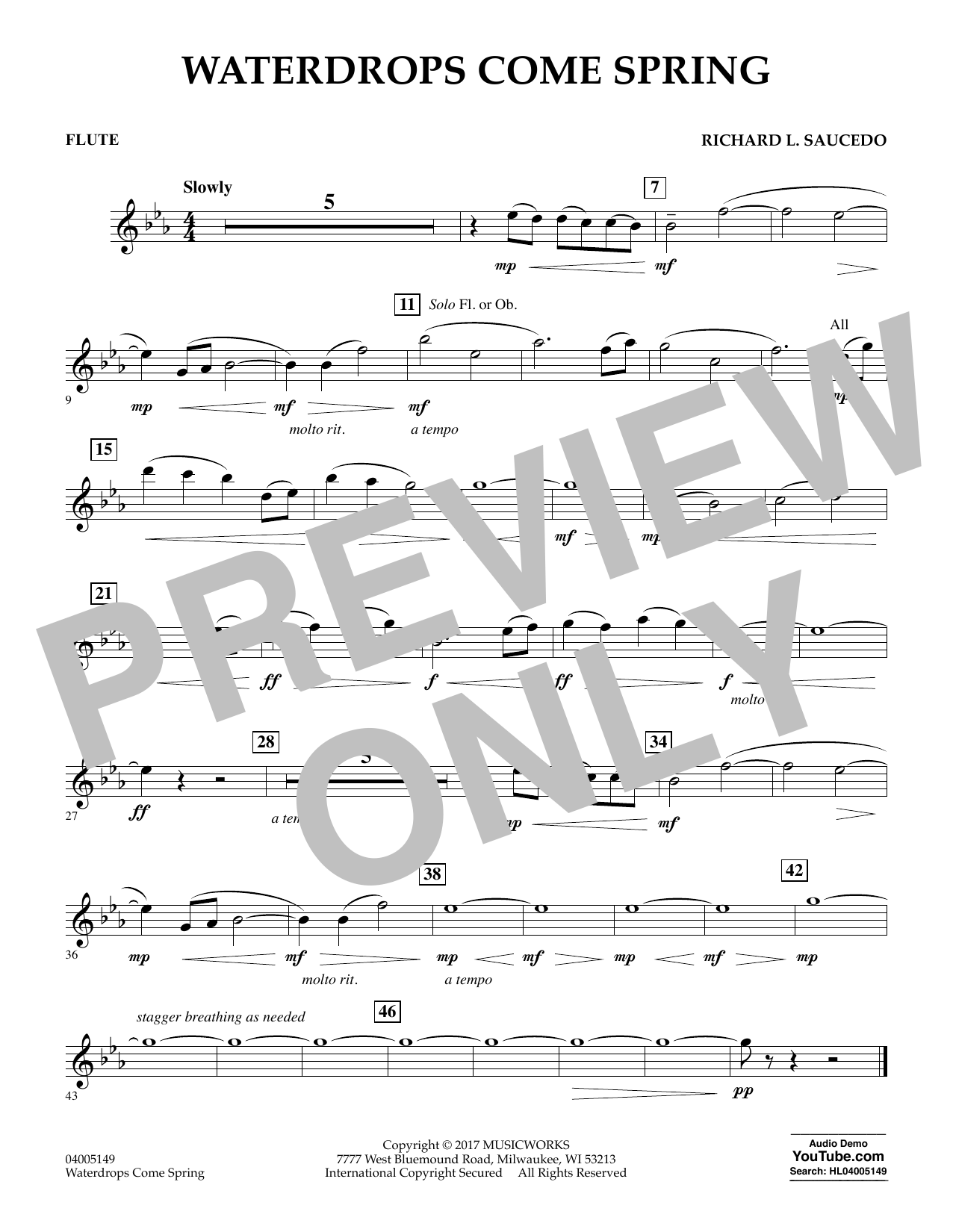 Waterdrops Come Spring - Flute Sheet Music