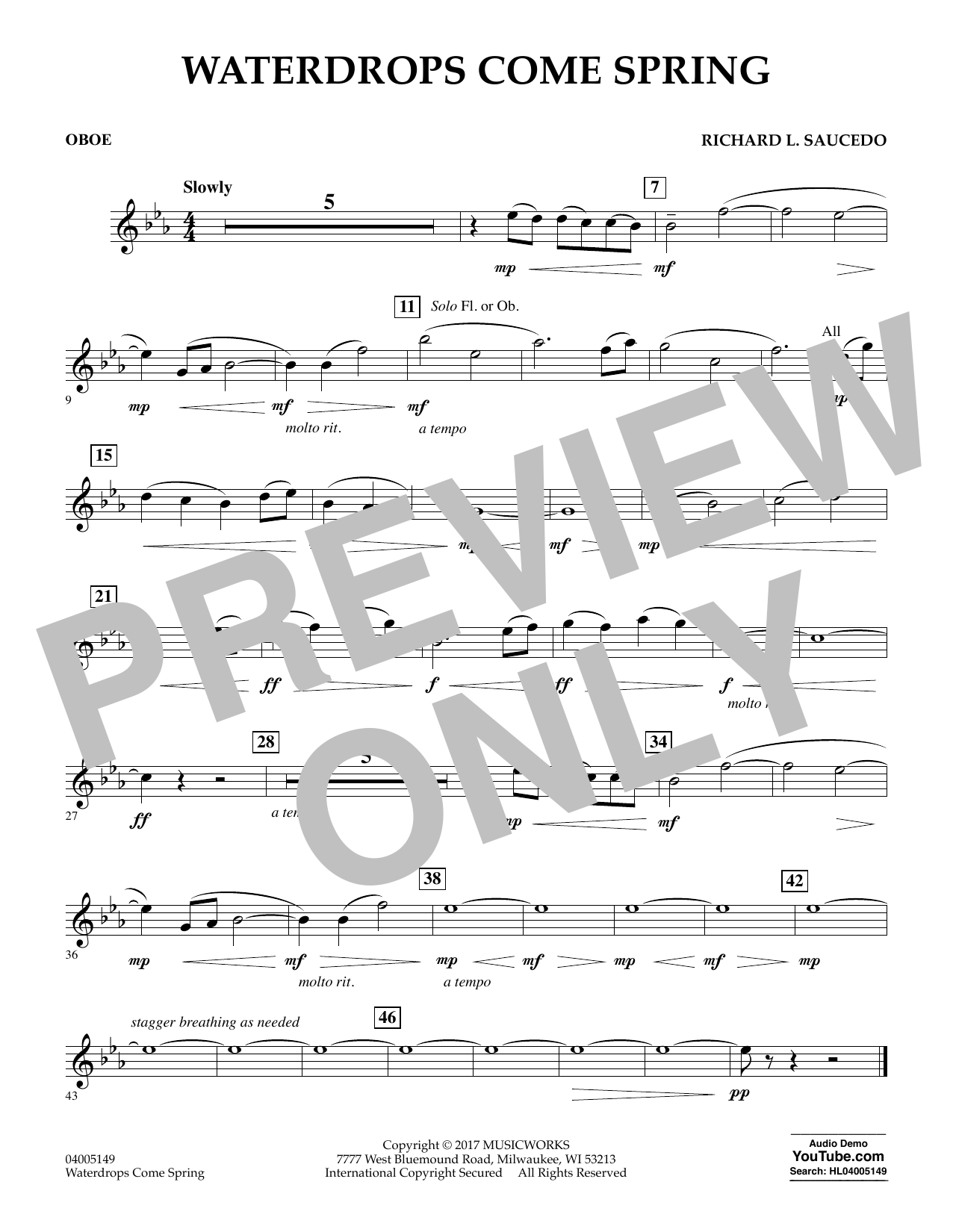 Waterdrops Come Spring - Oboe Sheet Music
