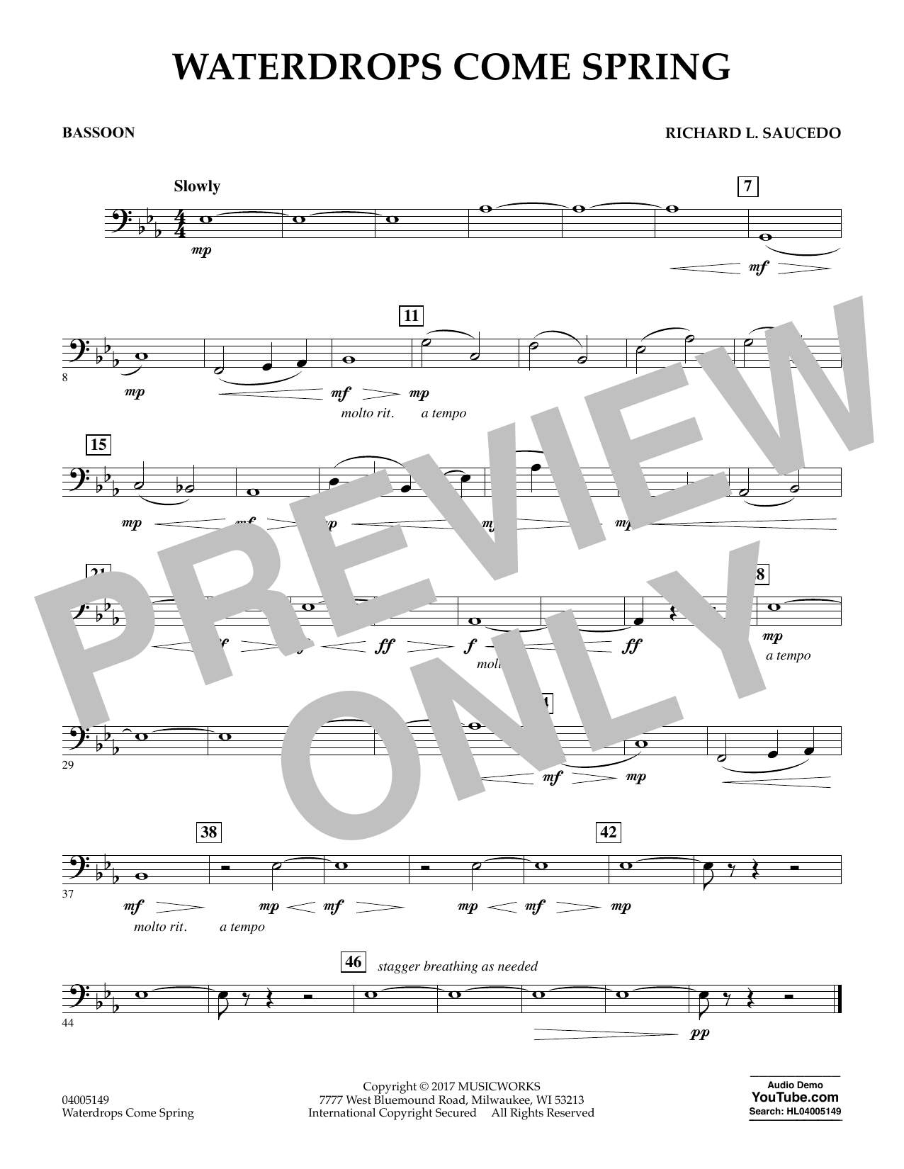 Waterdrops Come Spring - Bassoon Sheet Music