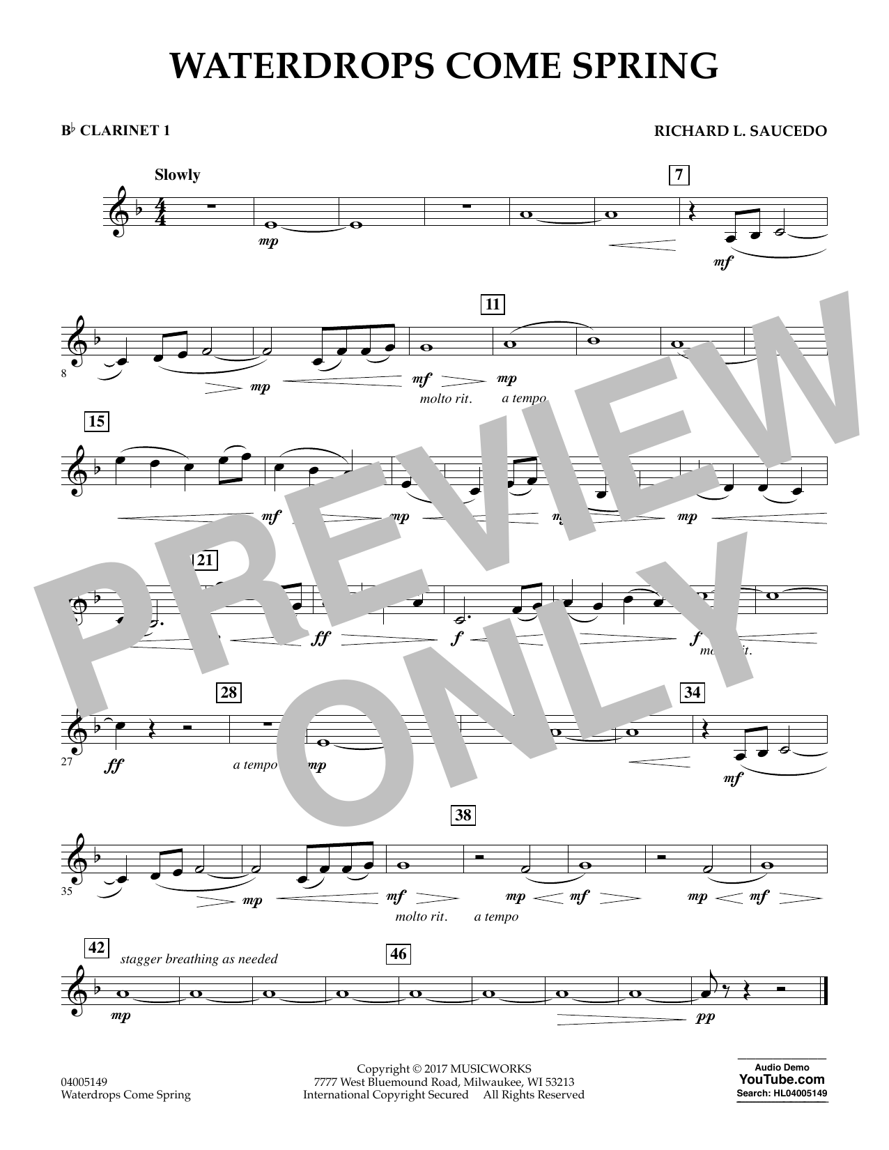 Waterdrops Come Spring - Bb Clarinet 1 Sheet Music