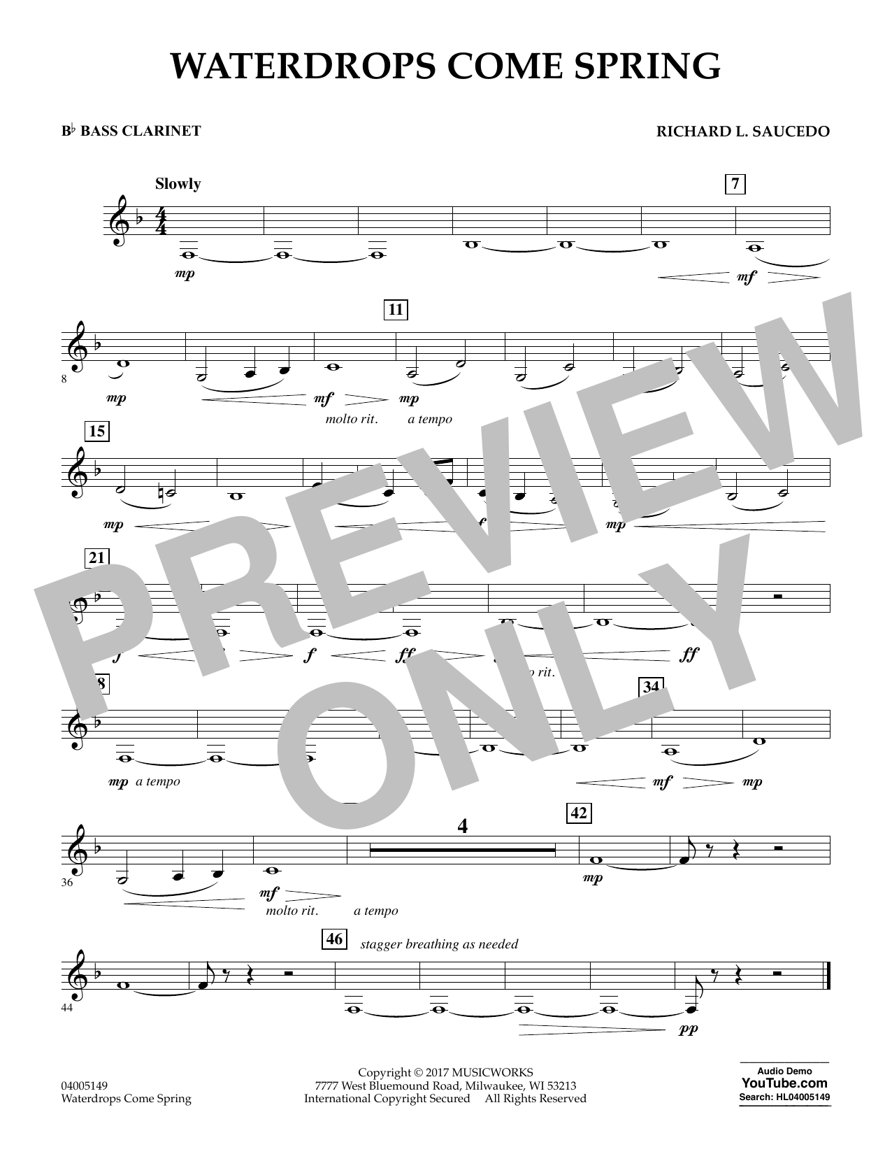 Waterdrops Come Spring - Bb Bass Clarinet Sheet Music