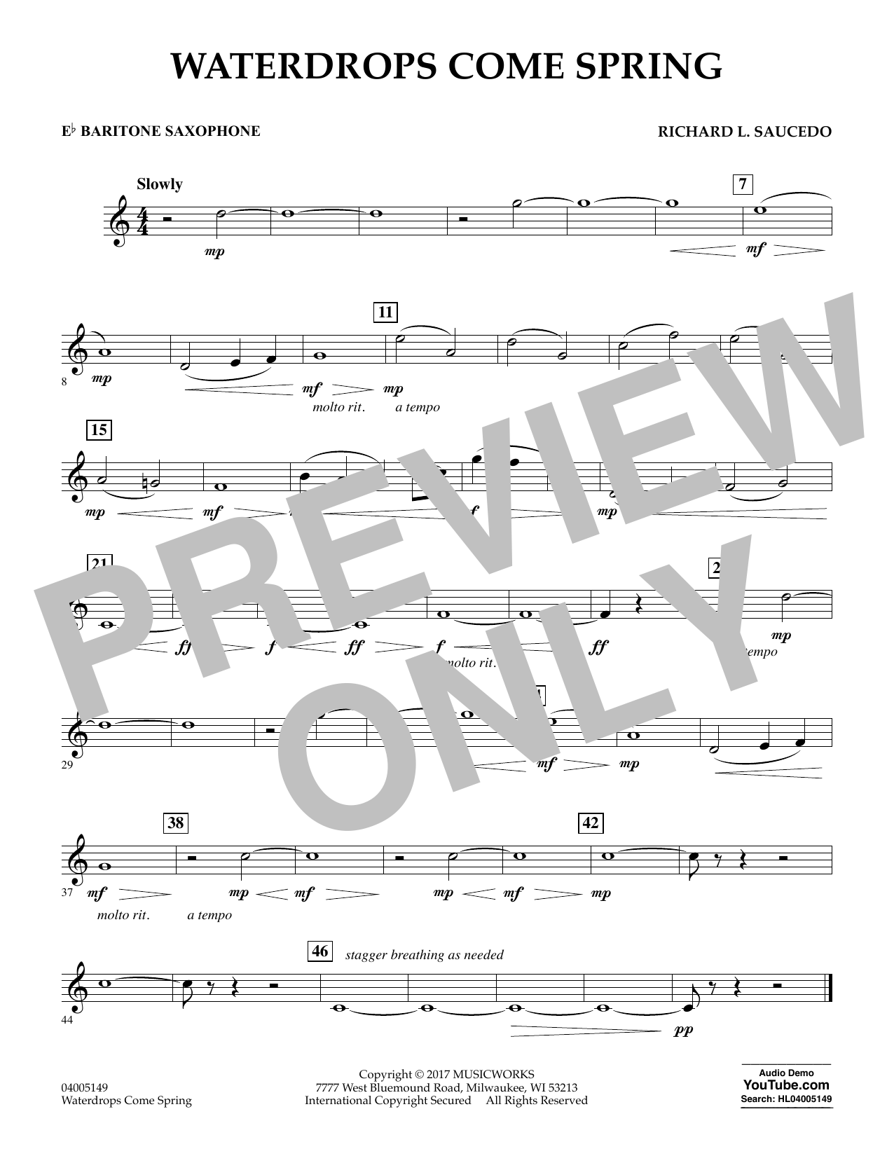 Waterdrops Come Spring - Eb Baritone Saxophone Sheet Music