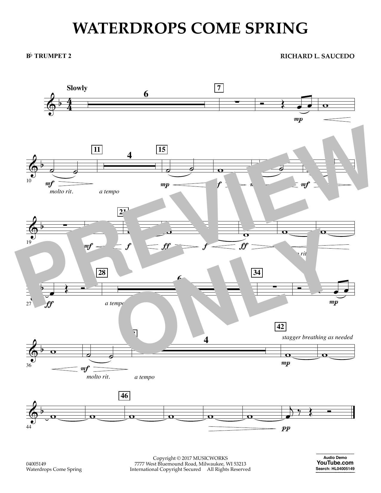 Waterdrops Come Spring - Bb Trumpet 2 Sheet Music