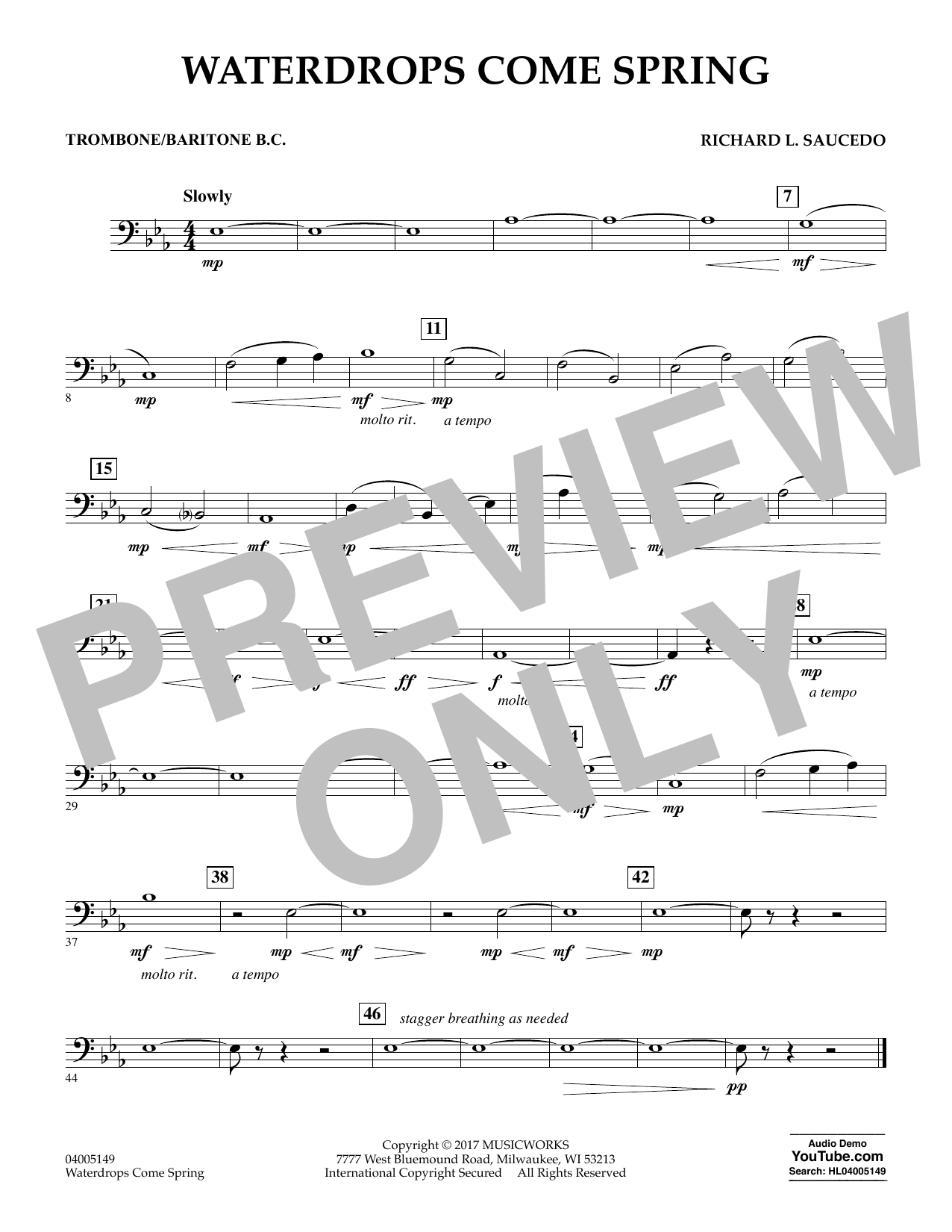 Waterdrops Come Spring - Trombone/Baritone B.C. (Concert Band)