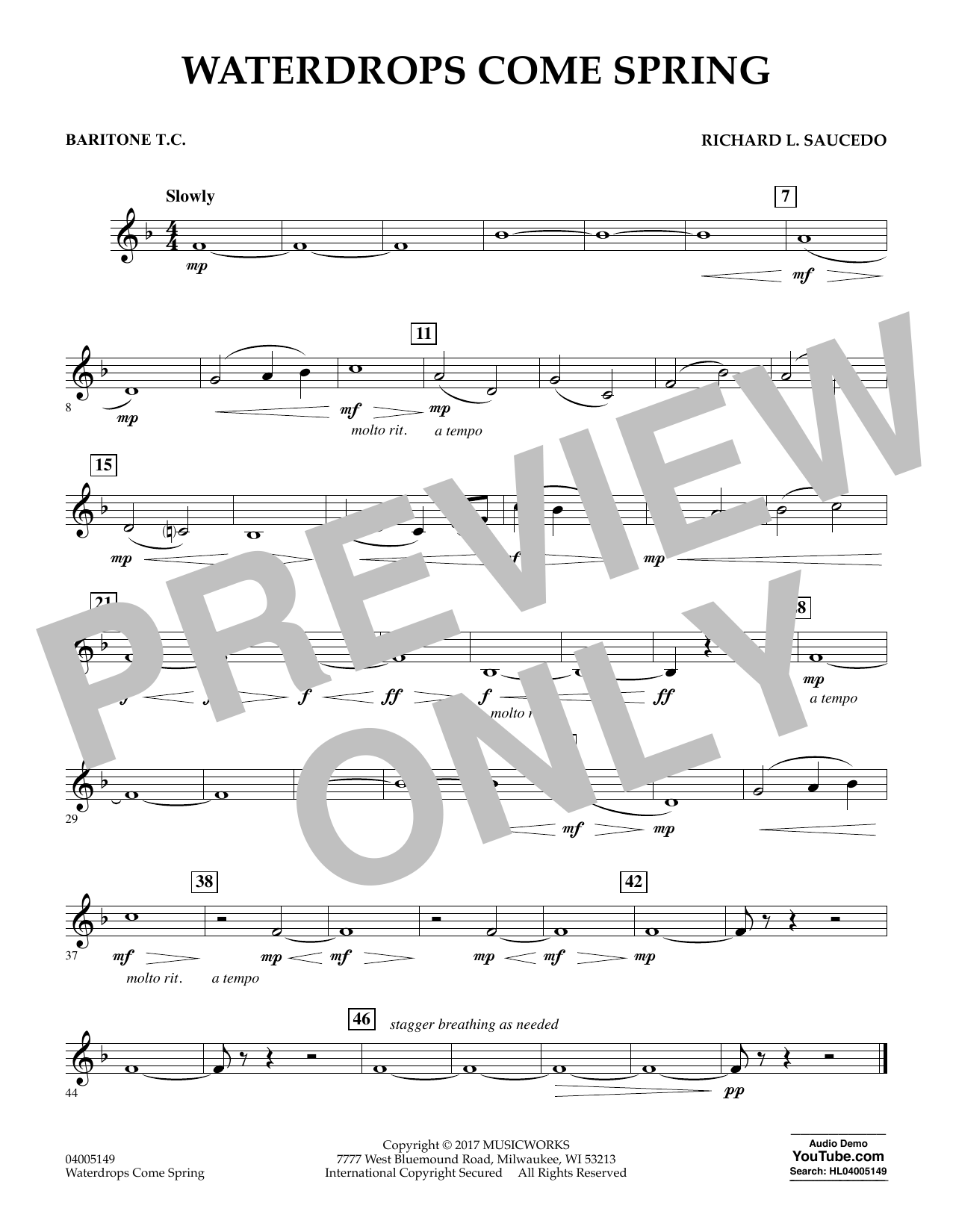 Waterdrops Come Spring - Baritone T.C. Sheet Music