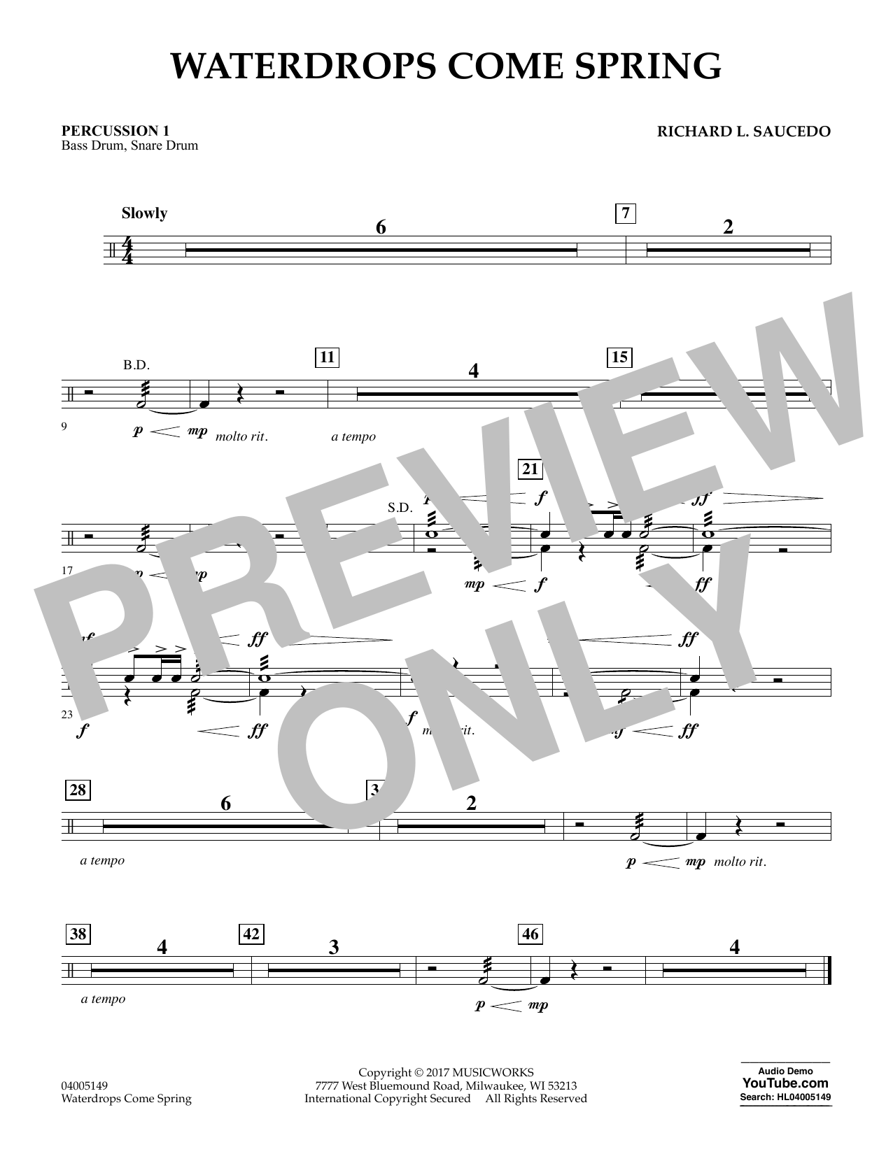 Waterdrops Come Spring - Percussion 1 Sheet Music