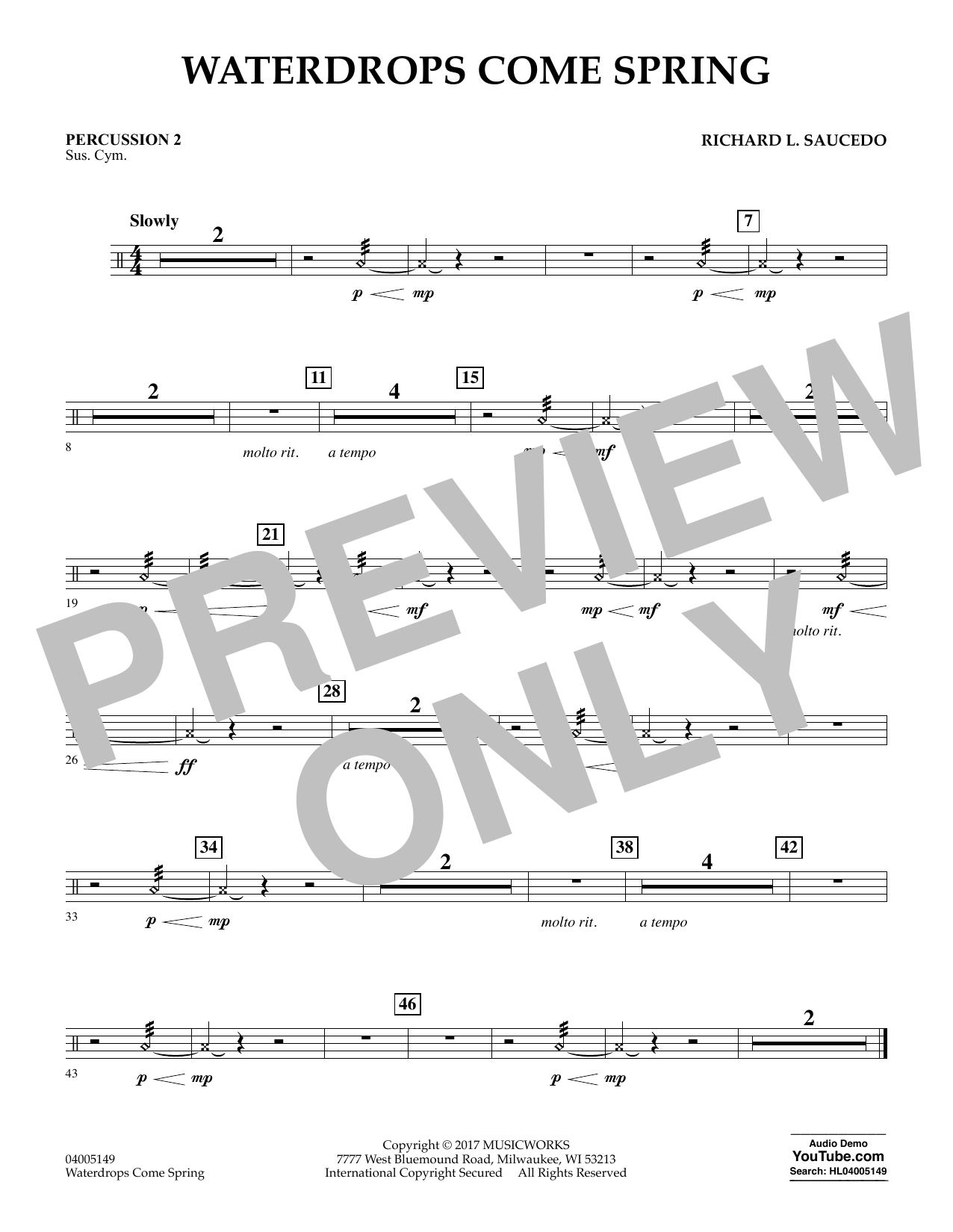 Waterdrops Come Spring - Percussion 2 Sheet Music