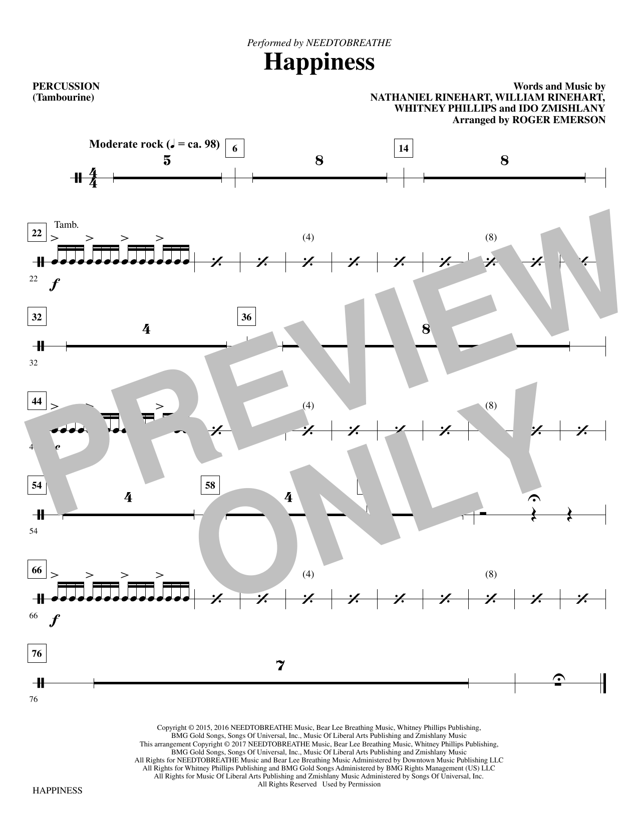 Happiness (arr. Roger Emerson) - Percussion (Choir Instrumental Pak)