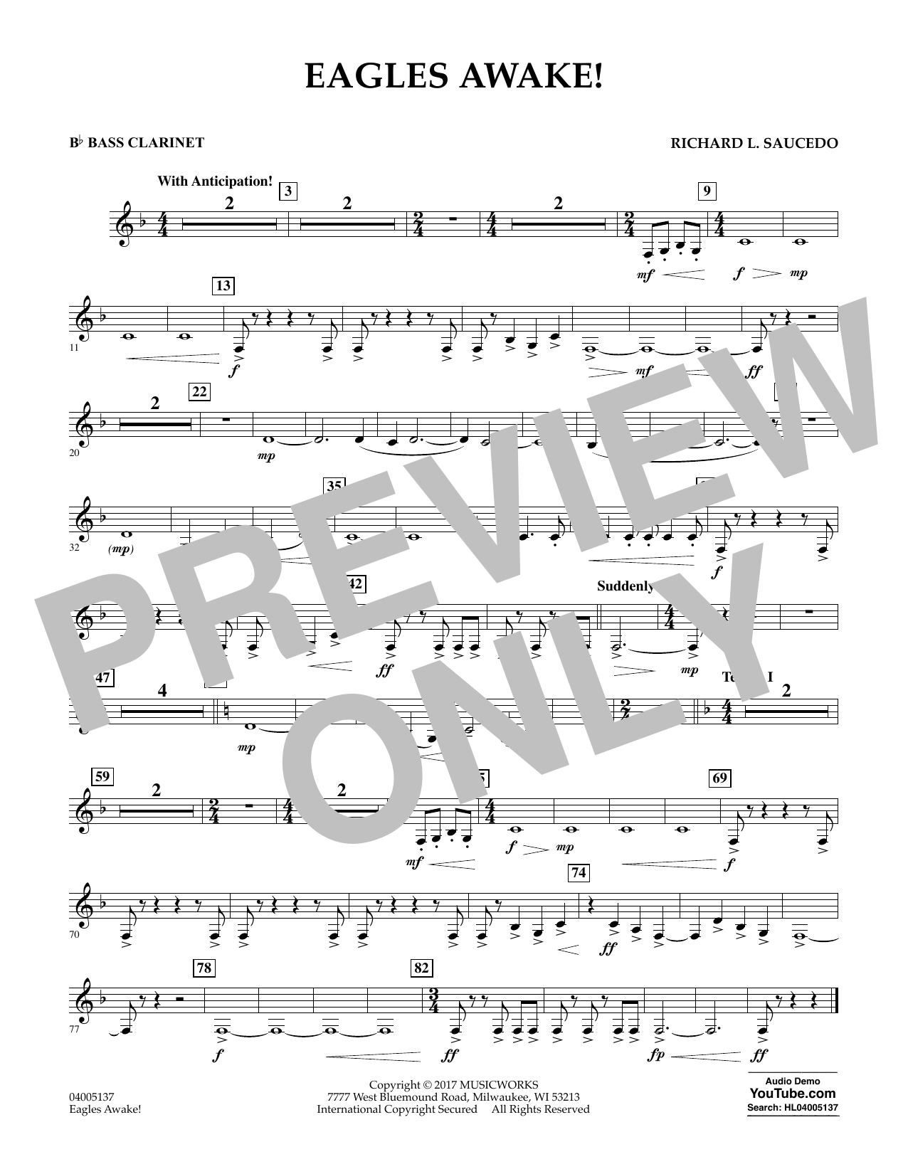 Eagles Awake! - Bb Bass Clarinet Sheet Music