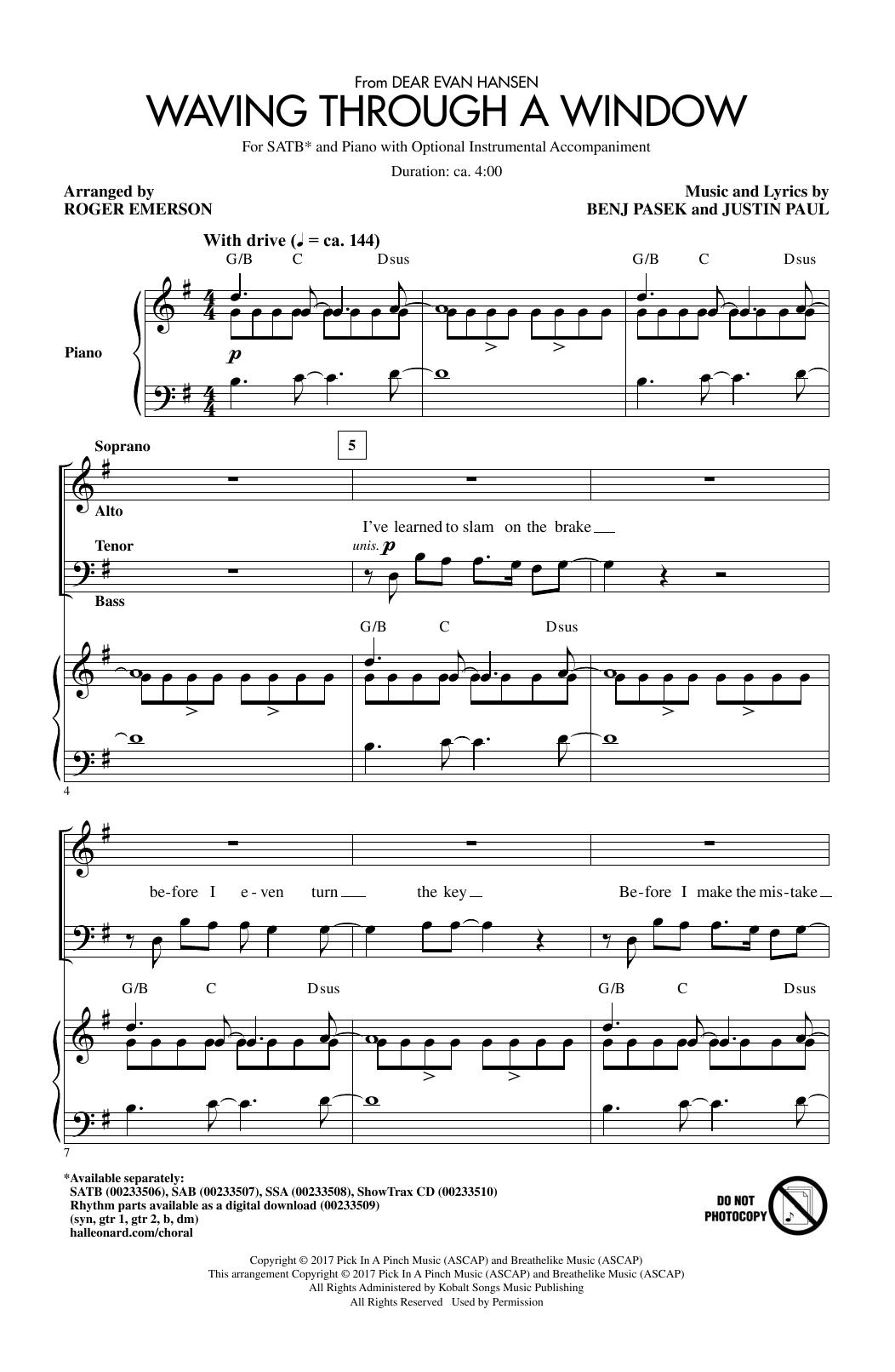 Waving Through A Window (from Dear Evan Hansen) (arr. Roger Emerson) Sheet Music