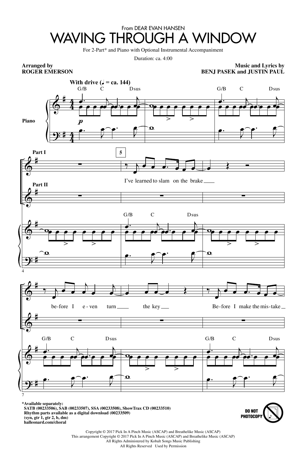 Waving Through A Window (from Dear Evan Hansen) (arr. Roger Emerson) Sheet Music