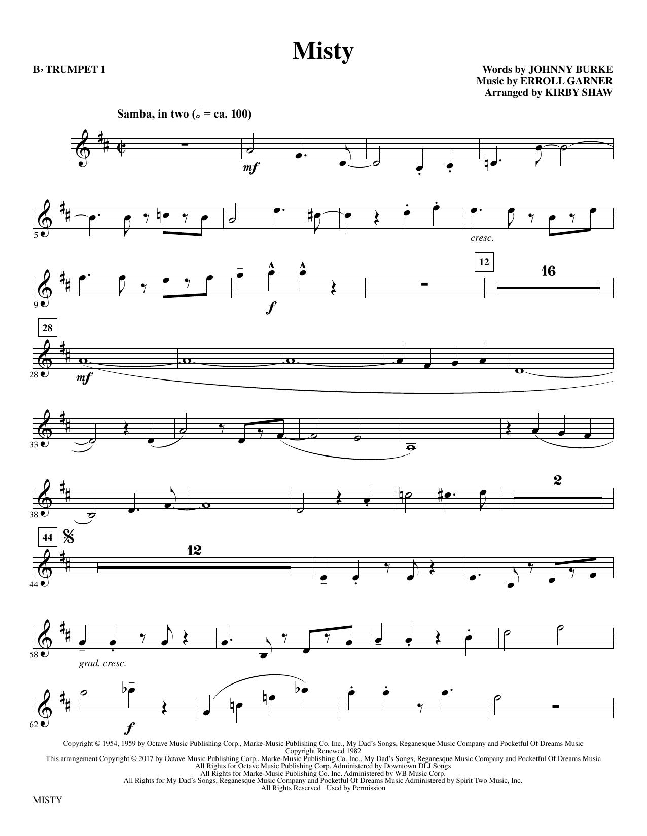 Misty - Bb Trumpet 1 by Kirby Shaw Choir Instrumental Pak Digital Sheet  Music