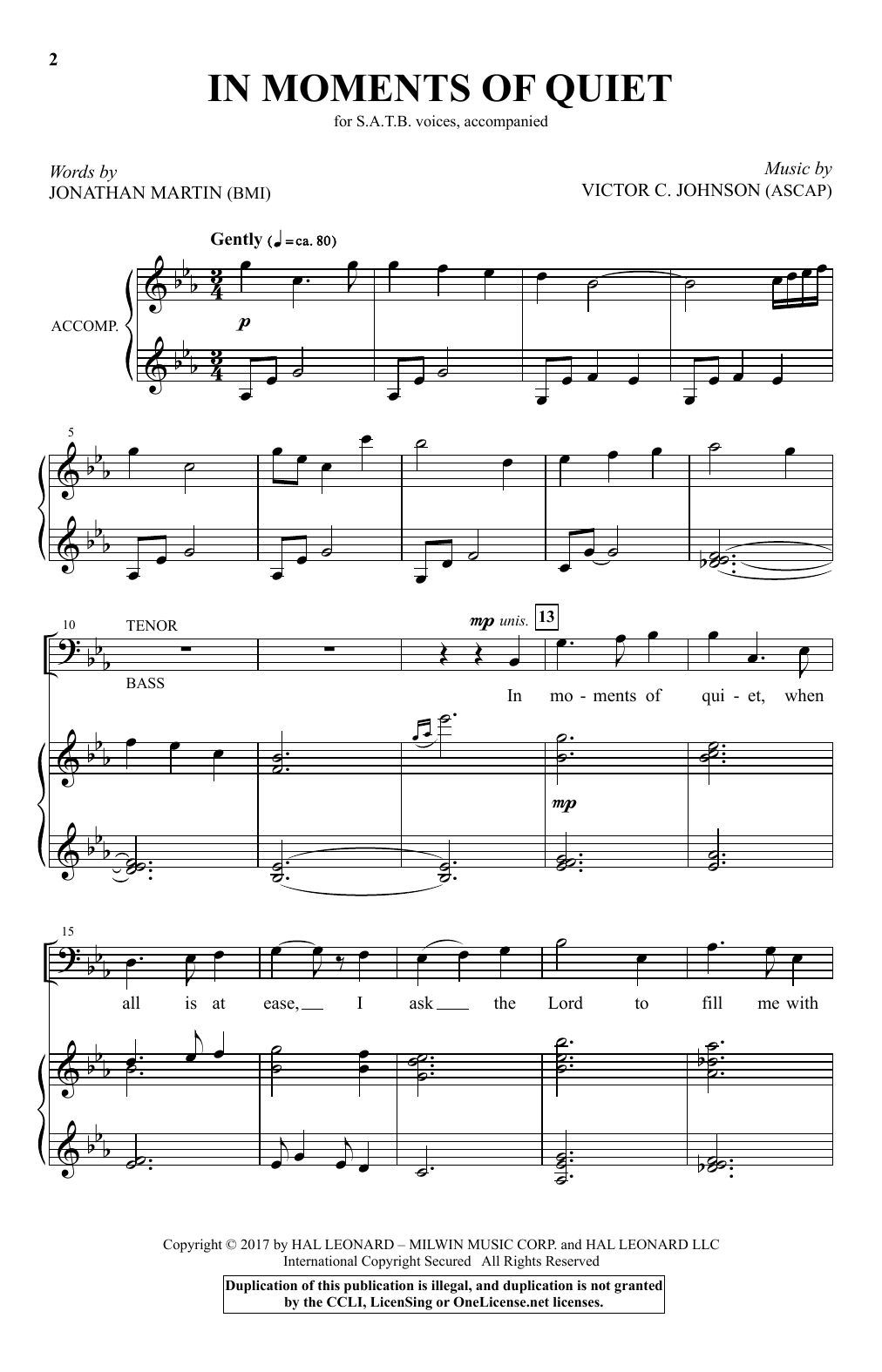 In Moments Of Quiet (SATB Choir)