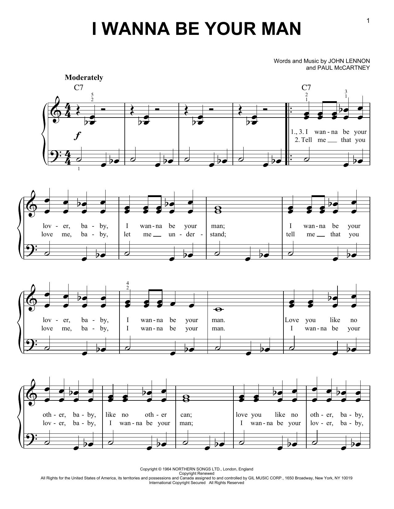 I Wanna Be Your Man (Easy Piano)