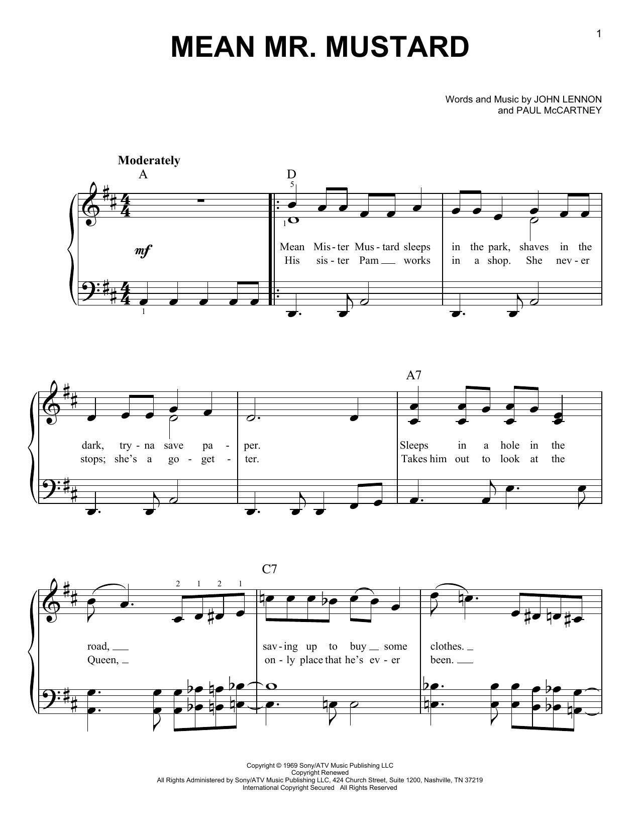 Mean Mr. Mustard (Easy Piano)