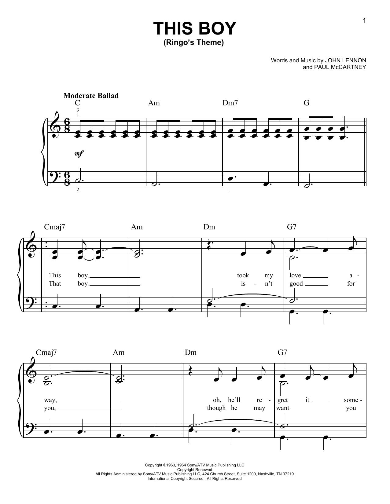 This Boy (Ringo's Theme) (Easy Piano)