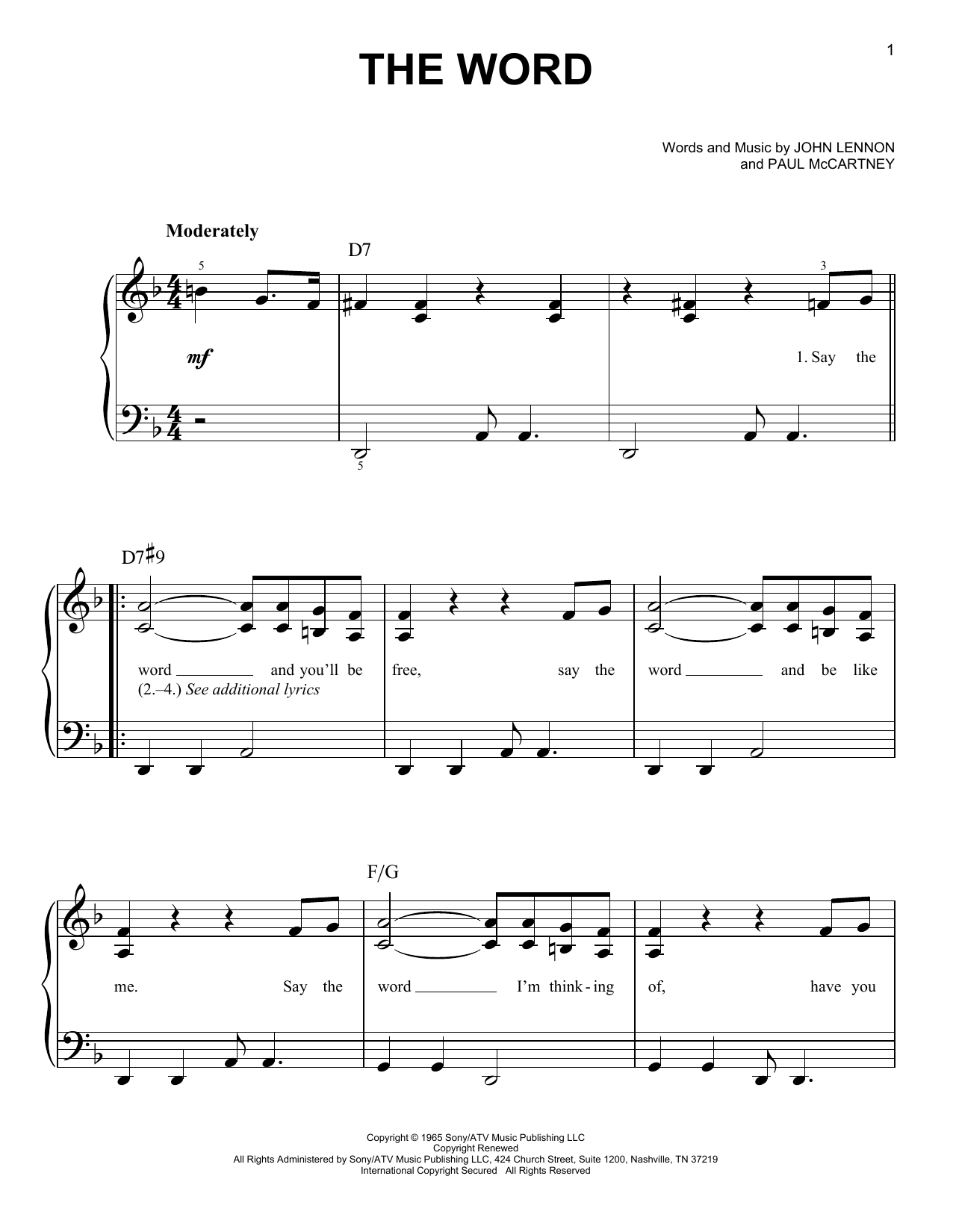 The Word (Easy Piano)