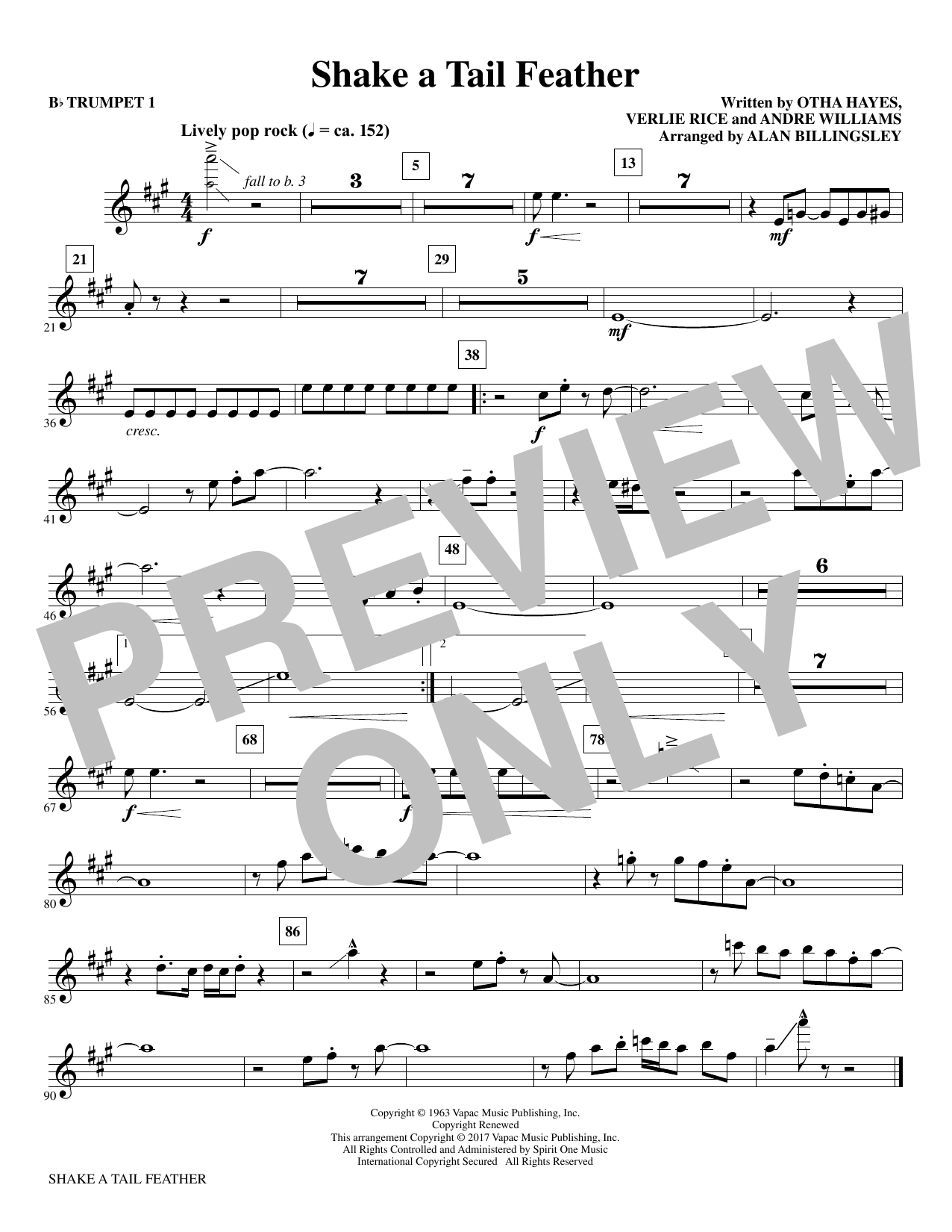 Shake a Tail Feather (complete set of parts) sheet music for orchestra/band by Alan Billingsley and Andre Williams. Score Image Preview.