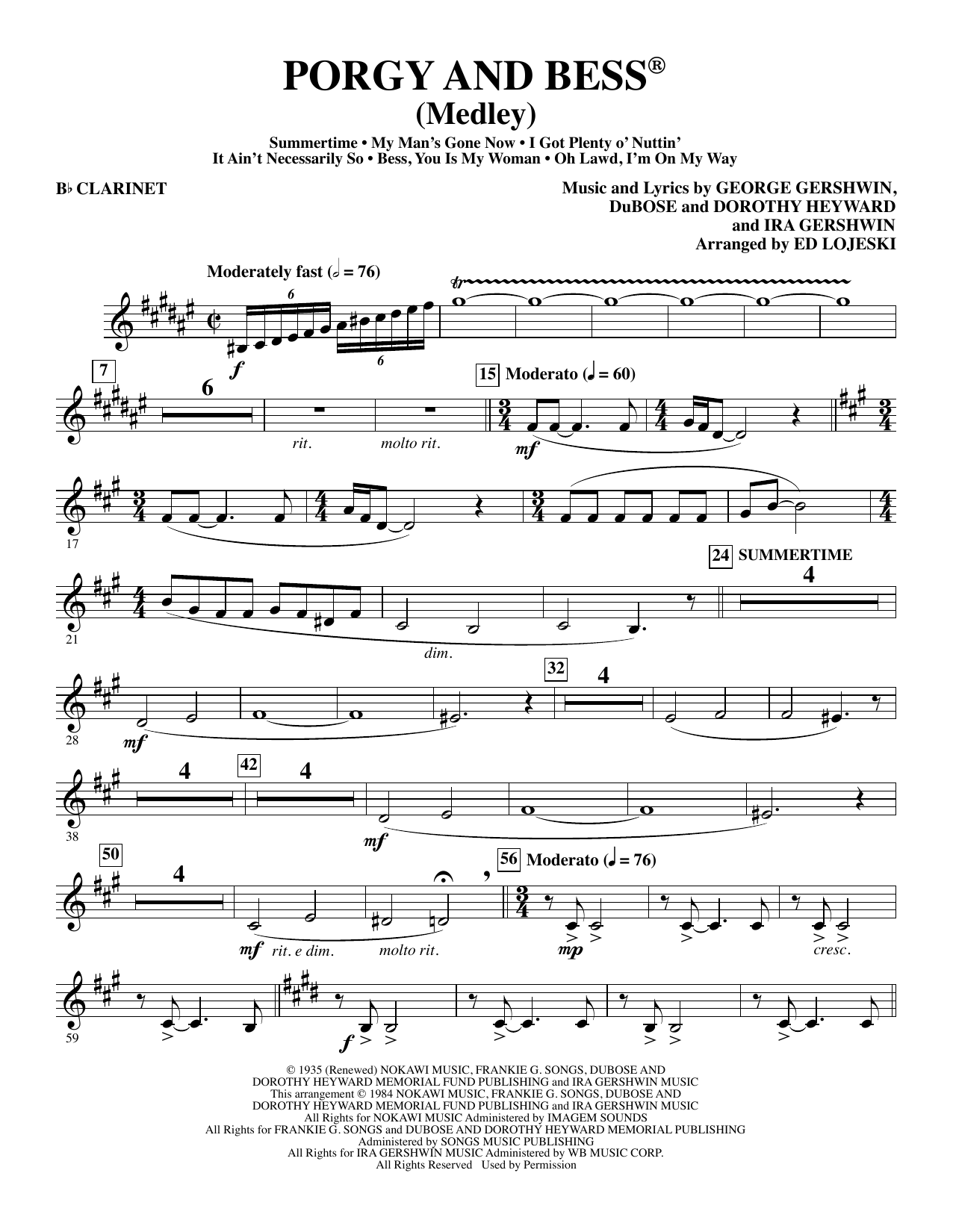 Porgy and Bess (Medley) - Bb Clarinet Sheet Music
