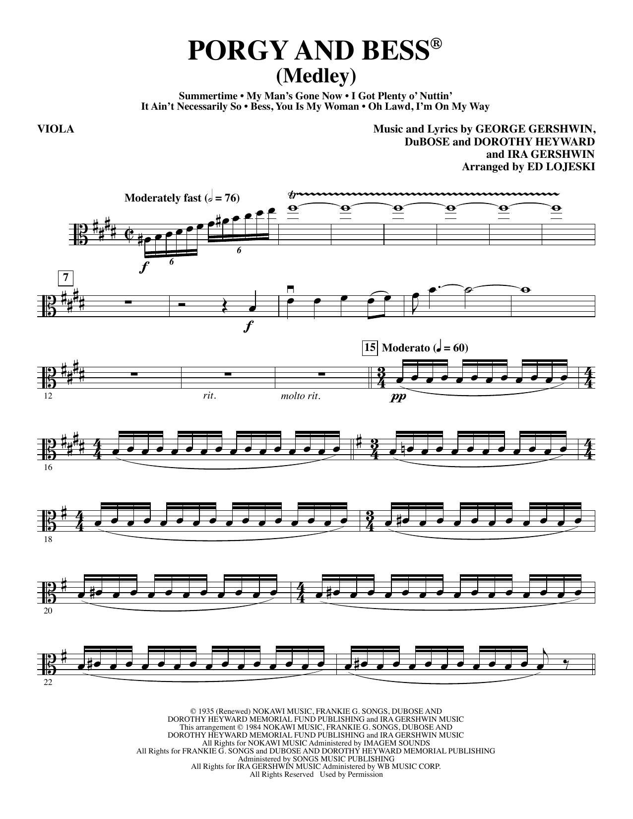 Porgy and Bess (Medley) - Viola Sheet Music