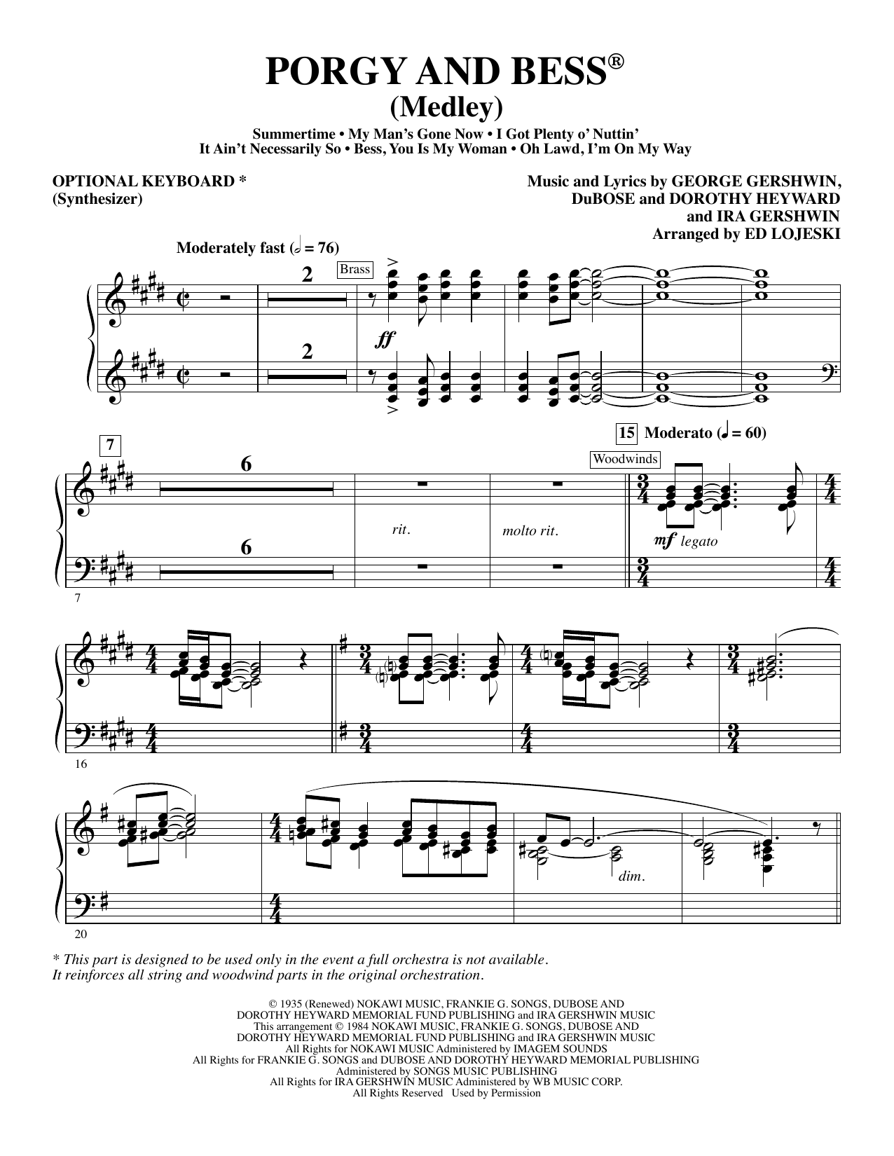 Porgy and Bess (Medley) - Synthesizer (opt.) Sheet Music