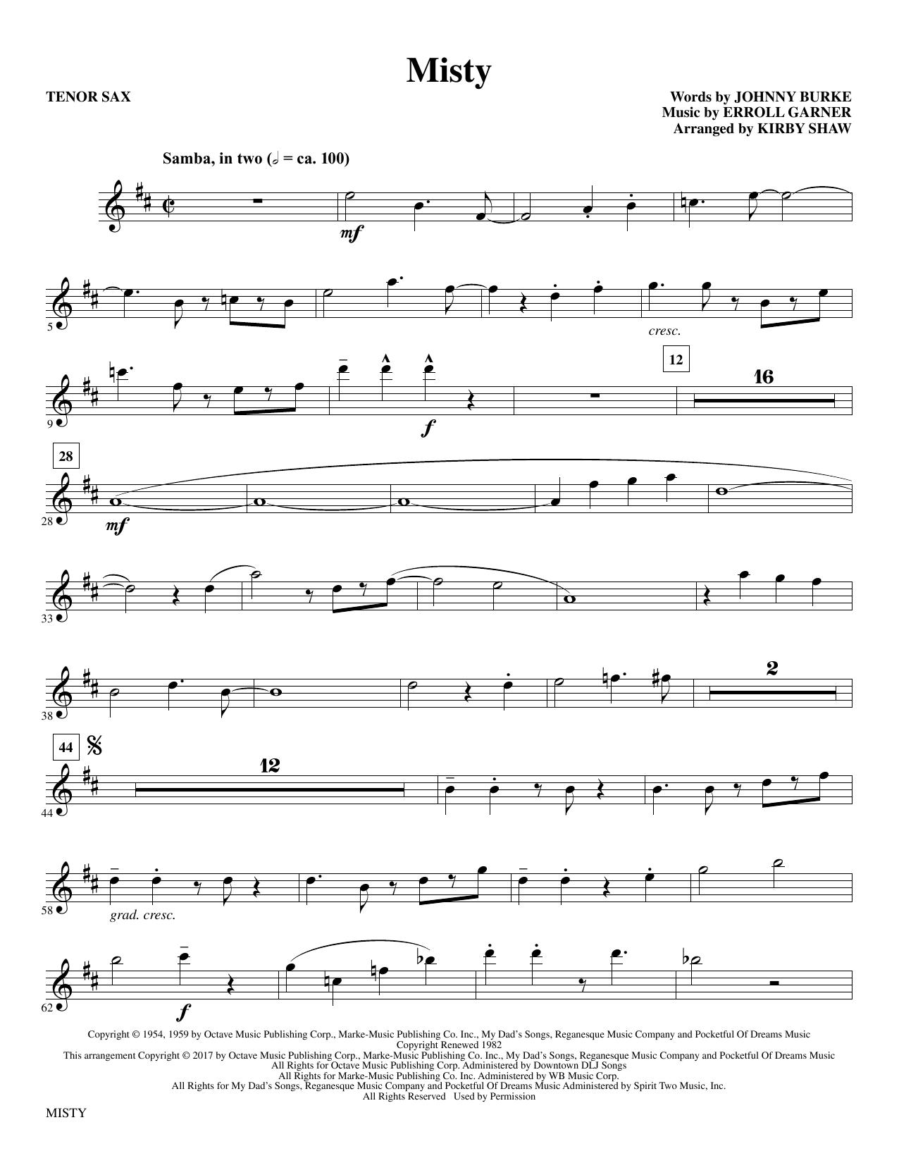 Misty - Bb Tenor Saxophone Sheet Music