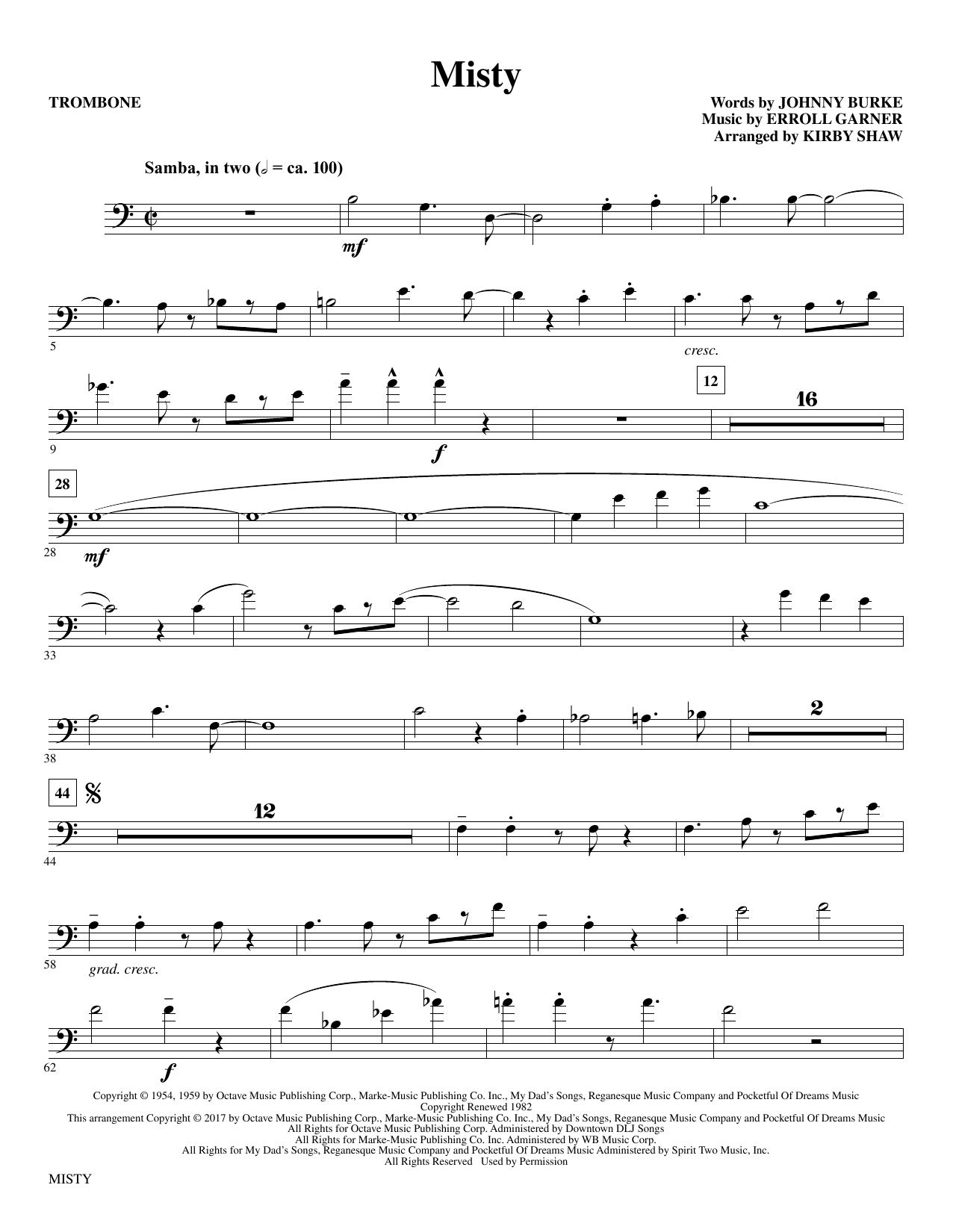 Misty - Trombone Sheet Music